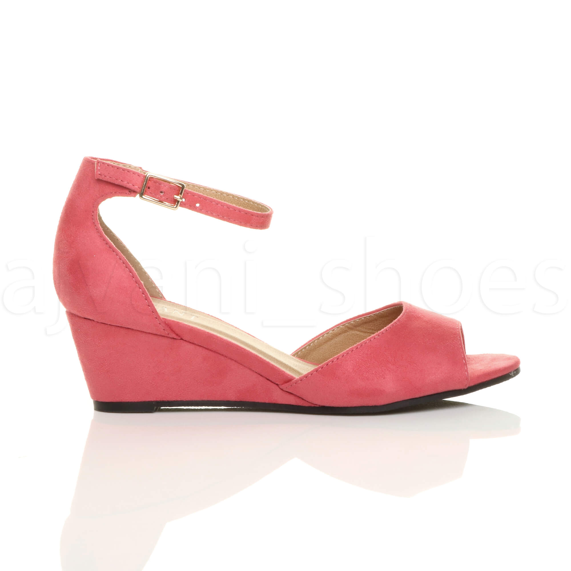 WOMENS-LADIES-LOW-MID-WEDGE-HEEL-ANKLE-STRAP-SMART-CASUAL-EVENING-SANDALS-SIZE thumbnail 35