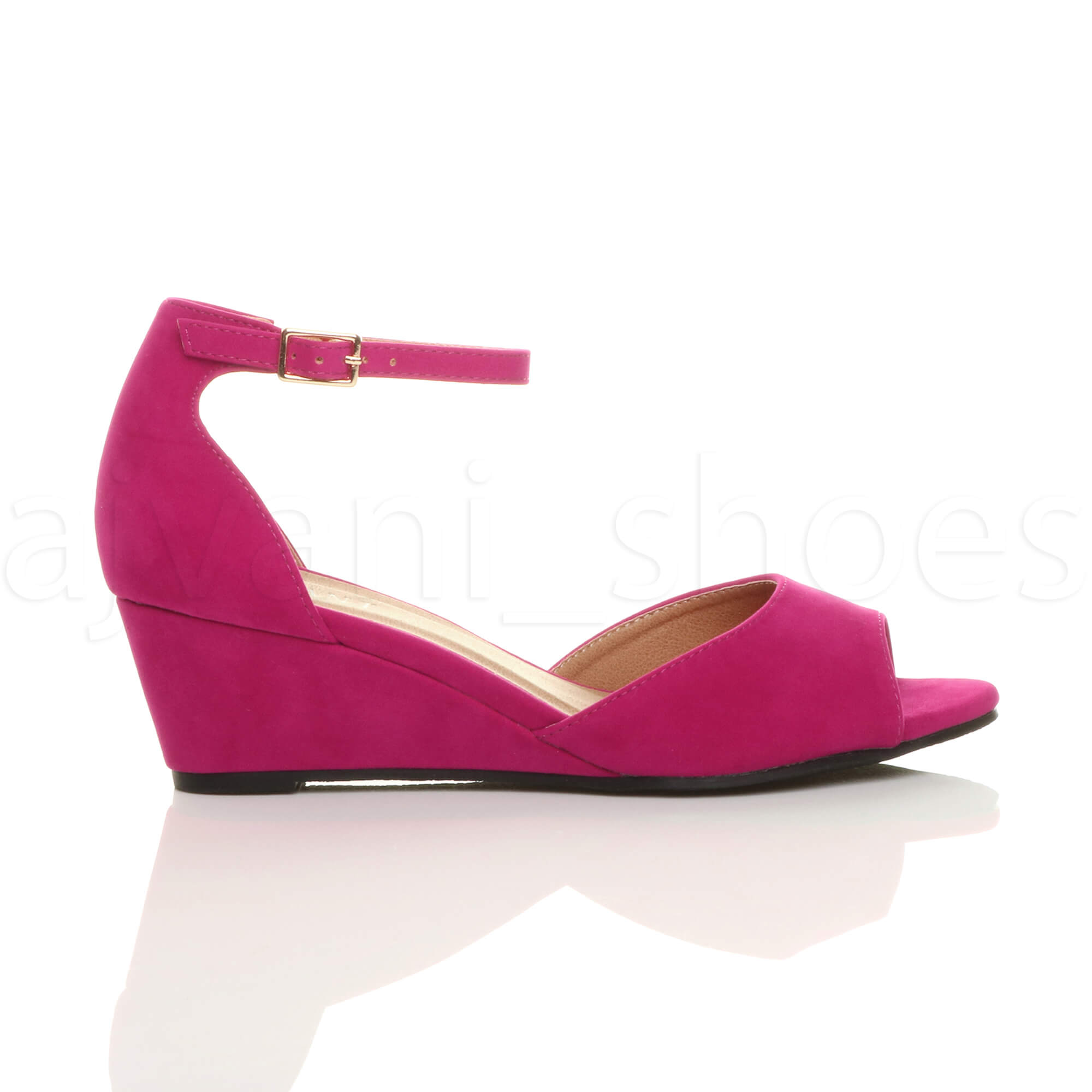 WOMENS-LADIES-LOW-MID-WEDGE-HEEL-ANKLE-STRAP-SMART-CASUAL-EVENING-SANDALS-SIZE thumbnail 43