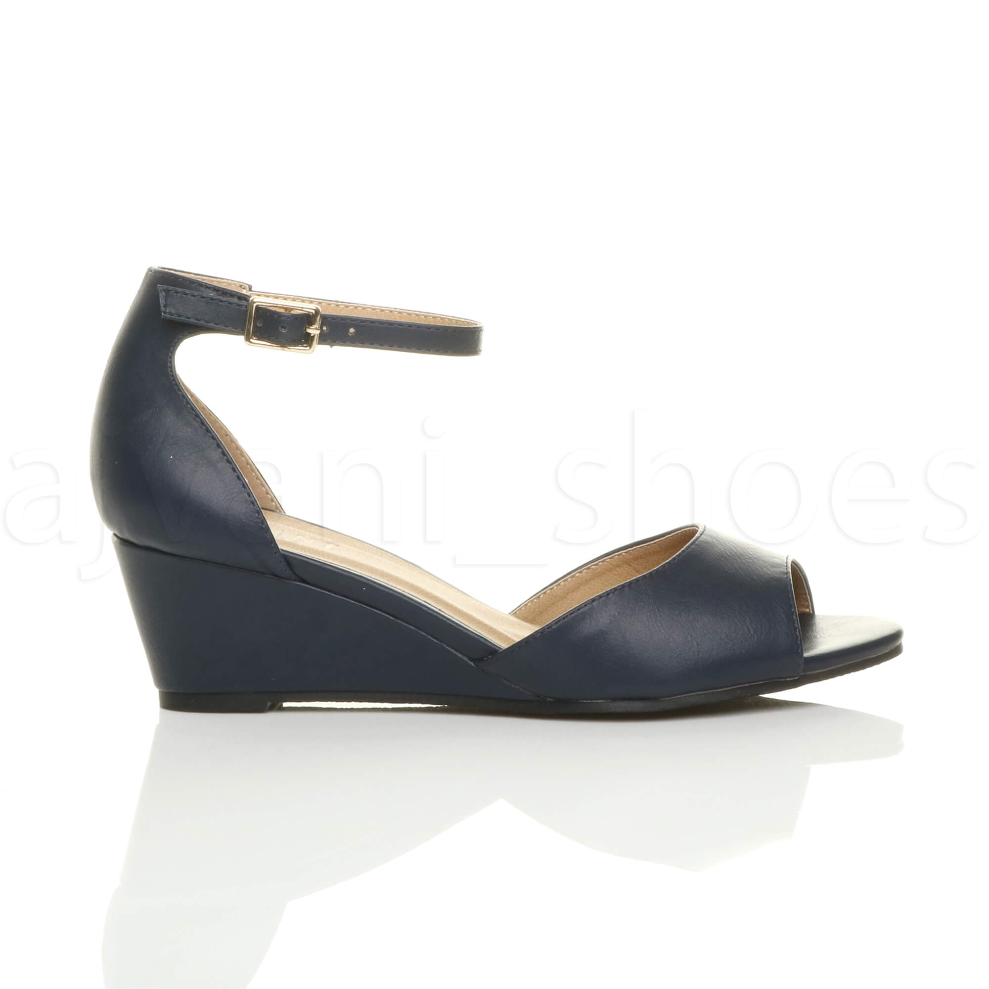 WOMENS-LADIES-LOW-MID-WEDGE-HEEL-ANKLE-STRAP-SMART-CASUAL-EVENING-SANDALS-SIZE thumbnail 83