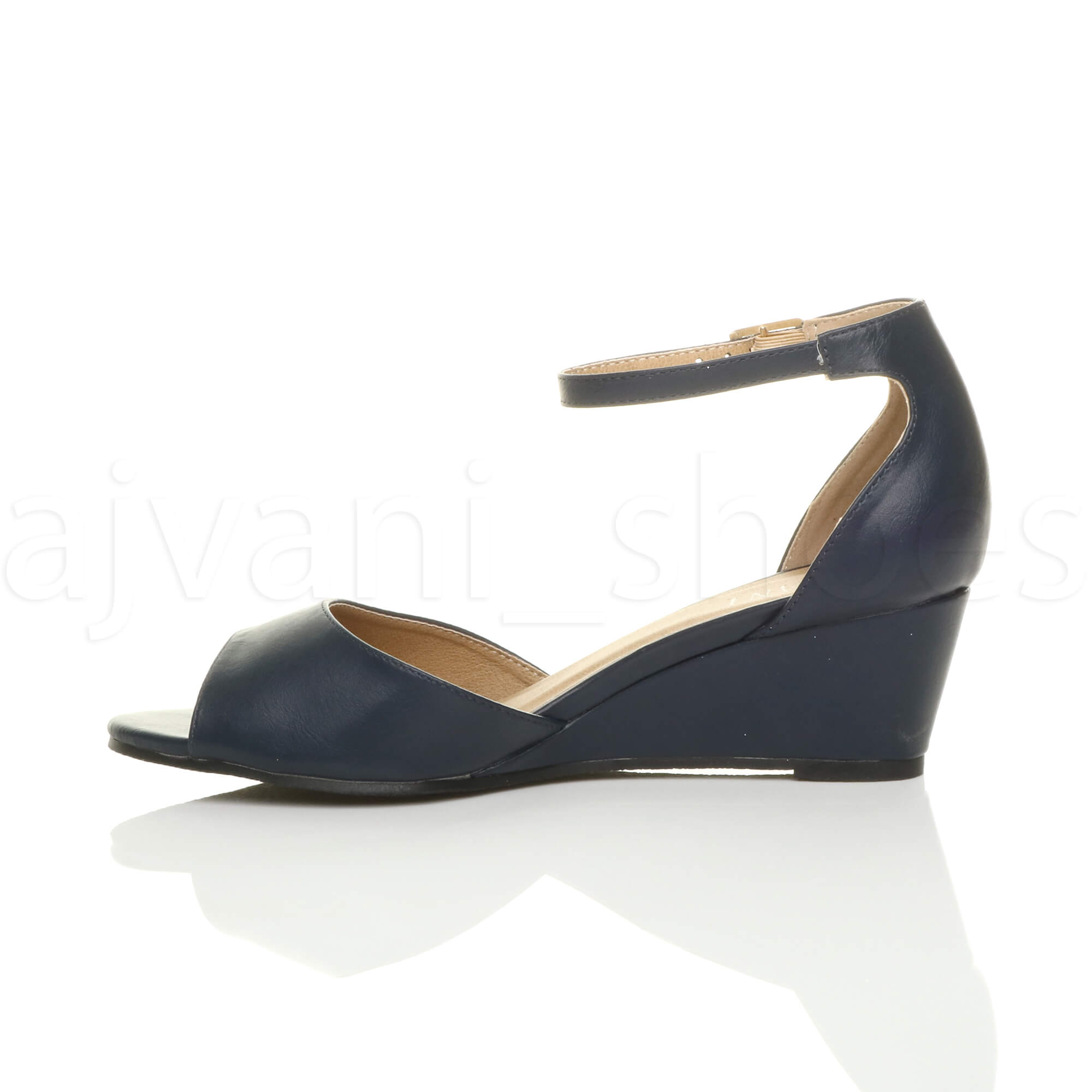 WOMENS-LADIES-LOW-MID-WEDGE-HEEL-ANKLE-STRAP-SMART-CASUAL-EVENING-SANDALS-SIZE thumbnail 84