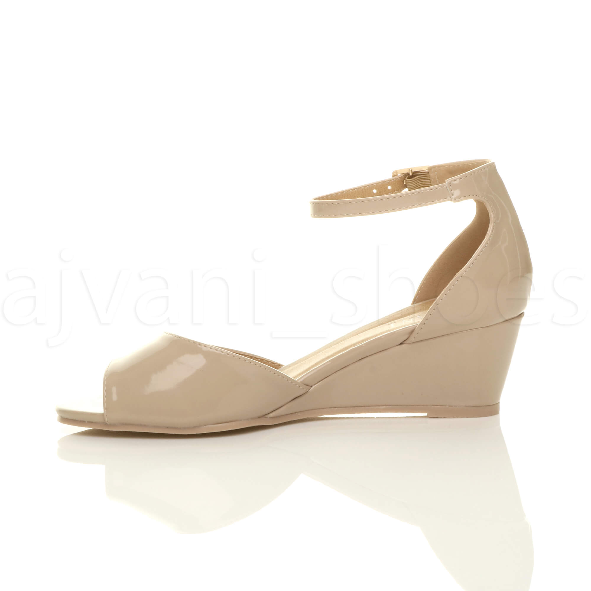 WOMENS-LADIES-LOW-MID-WEDGE-HEEL-ANKLE-STRAP-SMART-CASUAL-EVENING-SANDALS-SIZE thumbnail 100
