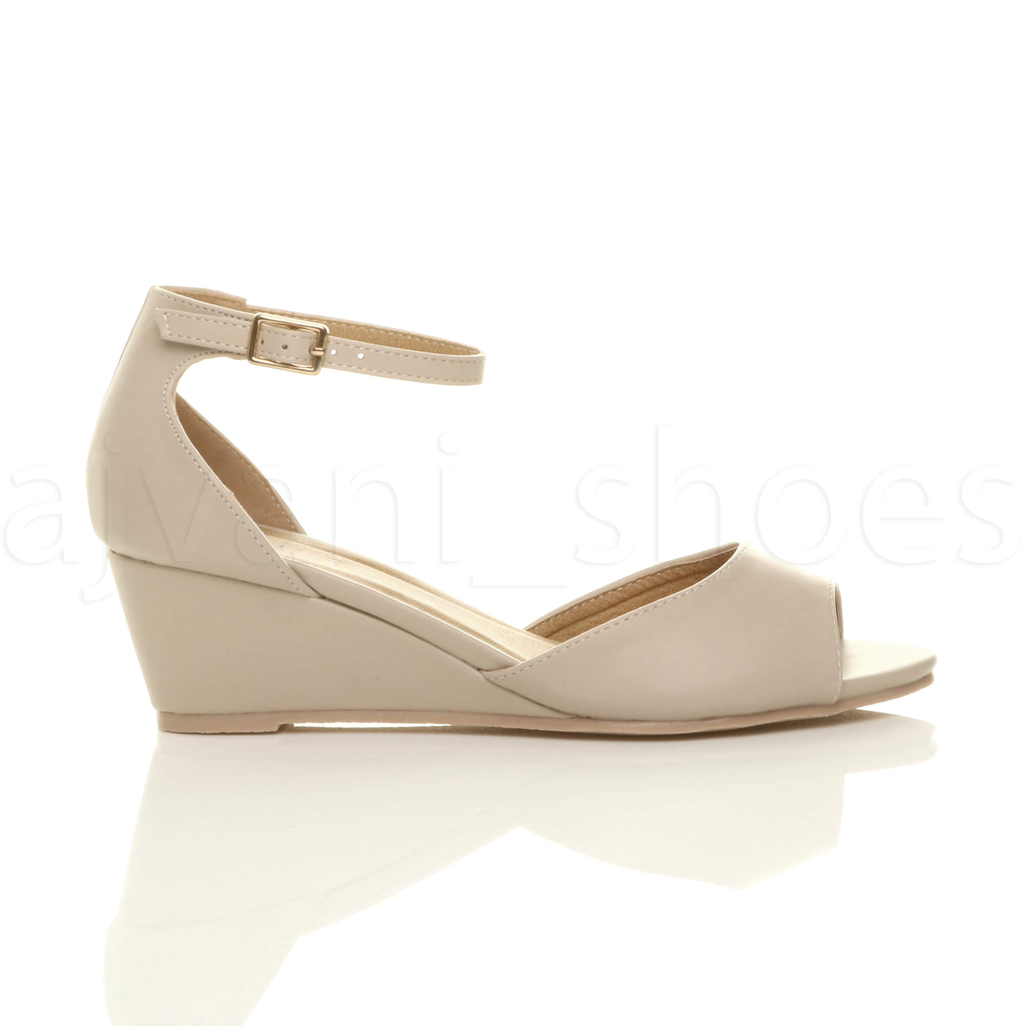 WOMENS-LADIES-LOW-MID-WEDGE-HEEL-ANKLE-STRAP-SMART-CASUAL-EVENING-SANDALS-SIZE thumbnail 91