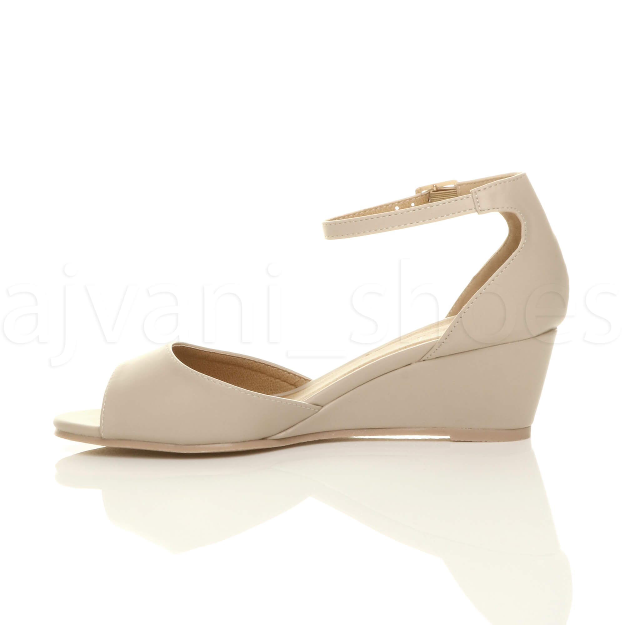 WOMENS-LADIES-LOW-MID-WEDGE-HEEL-ANKLE-STRAP-SMART-CASUAL-EVENING-SANDALS-SIZE thumbnail 92