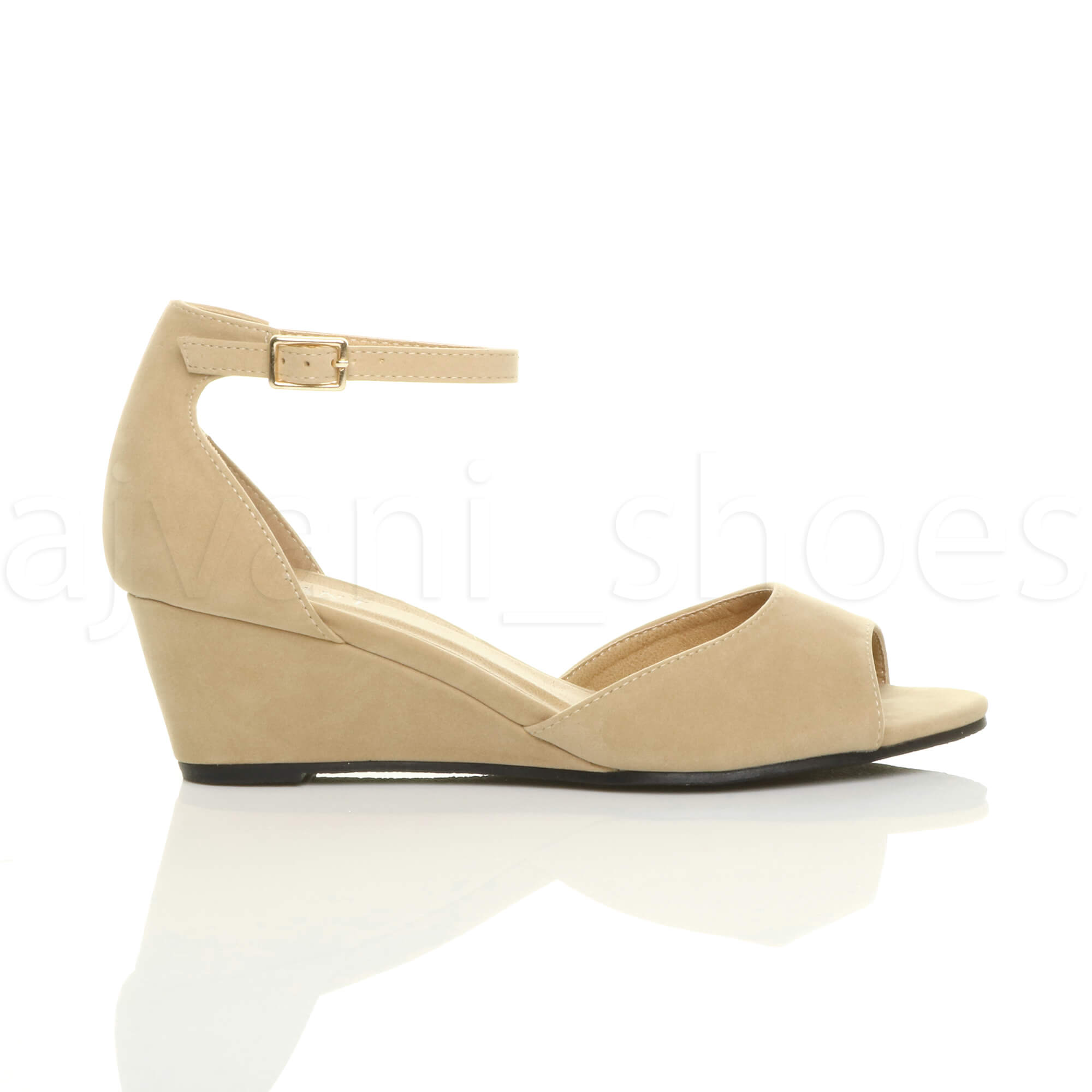 WOMENS-LADIES-LOW-MID-WEDGE-HEEL-ANKLE-STRAP-SMART-CASUAL-EVENING-SANDALS-SIZE thumbnail 107