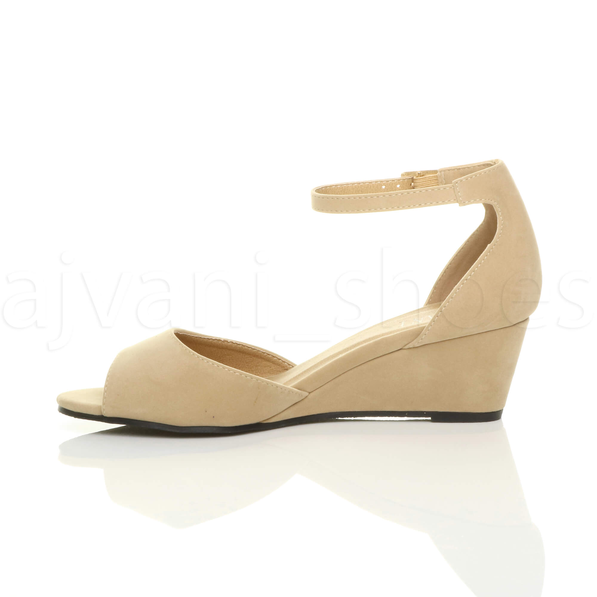 WOMENS-LADIES-LOW-MID-WEDGE-HEEL-ANKLE-STRAP-SMART-CASUAL-EVENING-SANDALS-SIZE thumbnail 108