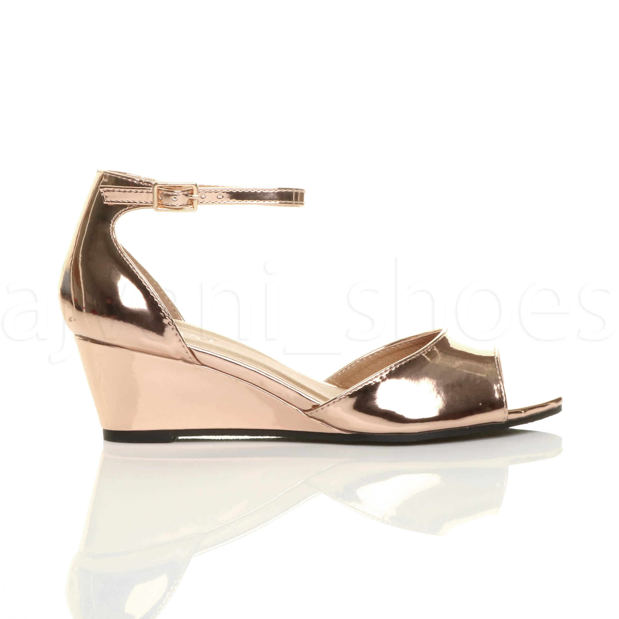 WOMENS-LADIES-LOW-MID-WEDGE-HEEL-ANKLE-STRAP-SMART-CASUAL-EVENING-SANDALS-SIZE thumbnail 131