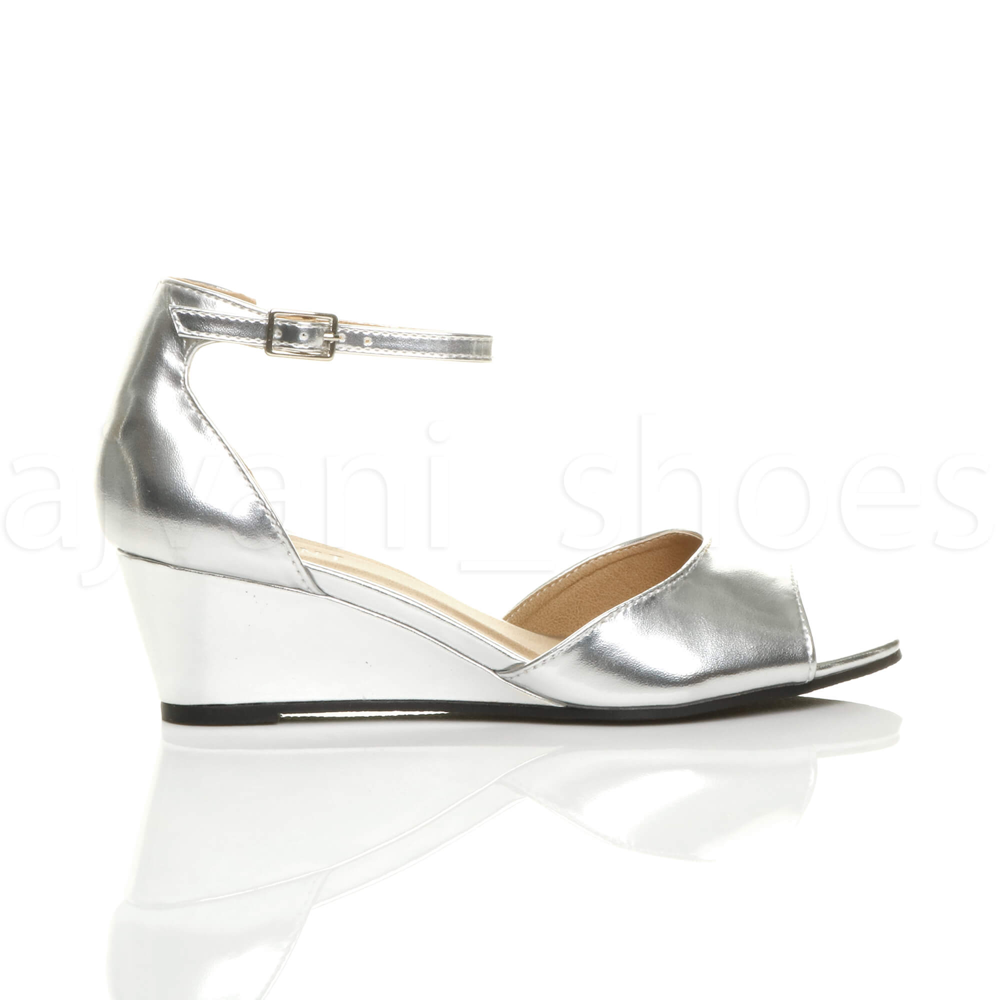 WOMENS-LADIES-LOW-MID-WEDGE-HEEL-ANKLE-STRAP-SMART-CASUAL-EVENING-SANDALS-SIZE thumbnail 147