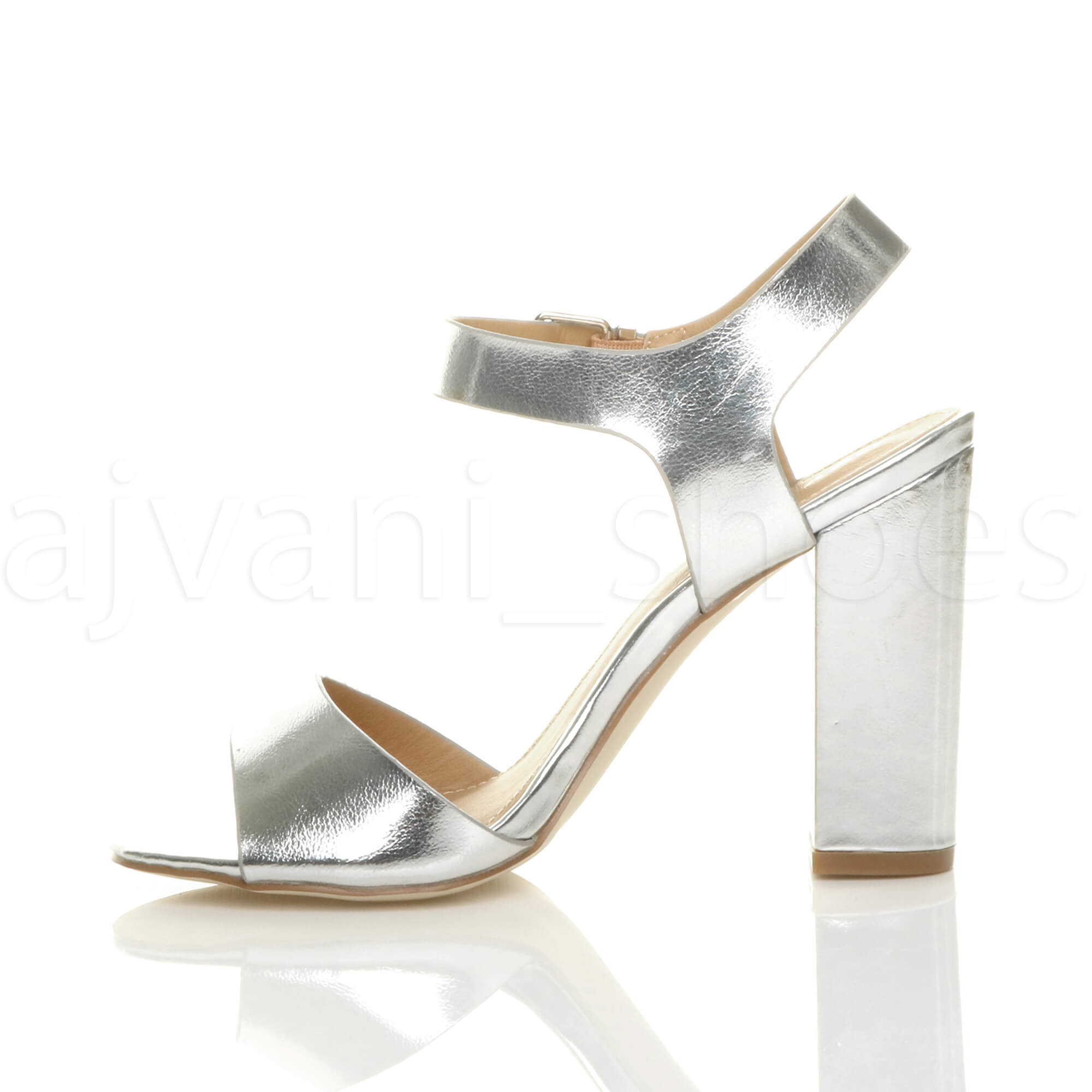 98163c01a888 WOMENS LADIES HIGH BLOCK HEEL ANKLE STRAP BUCKLE PEEP TOE .