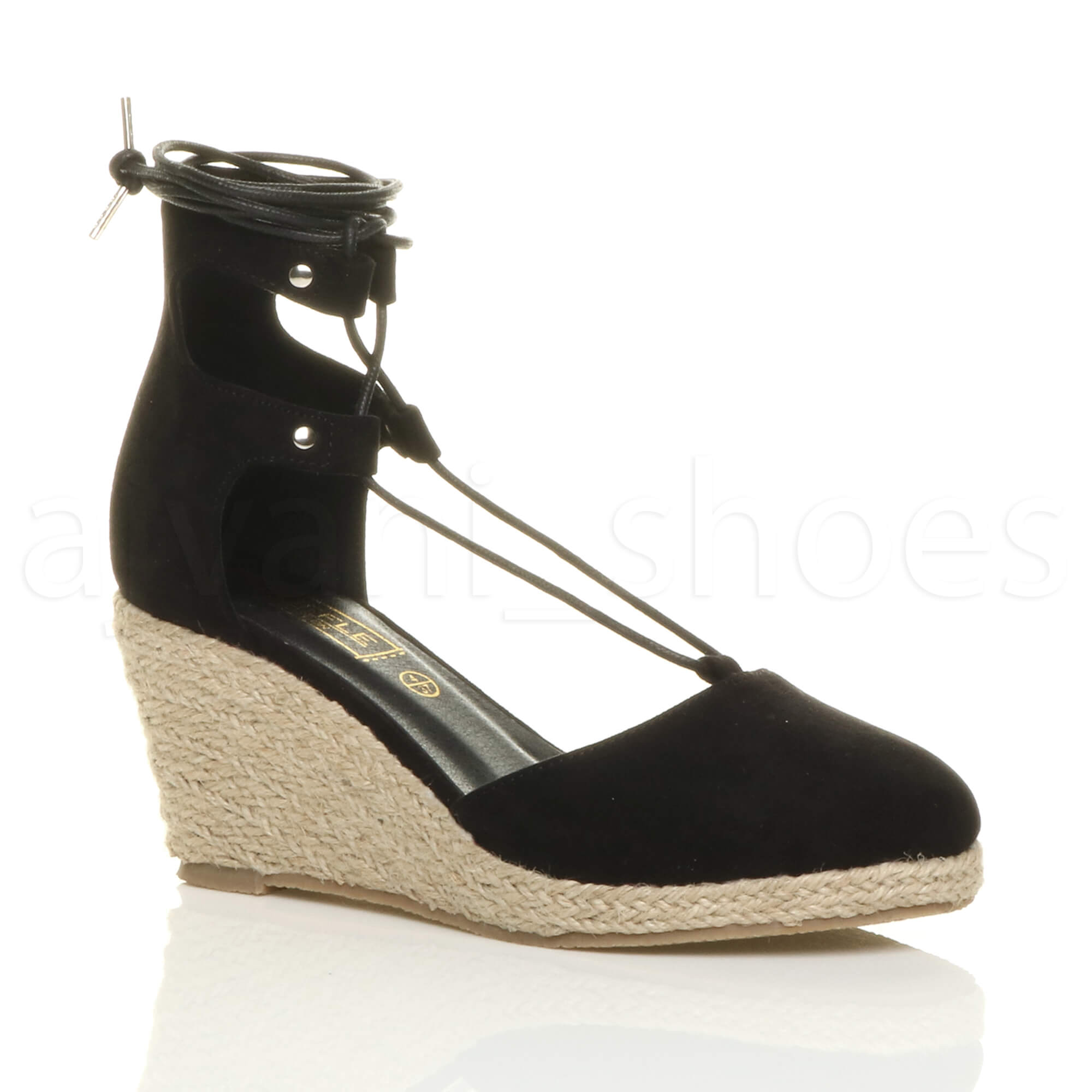 WOMENS-LADIES-MID-WEDGE-HEEL-SUMMER-GHILLIE-TIE-UP-ESPADRILLES-SANDALS-SIZE