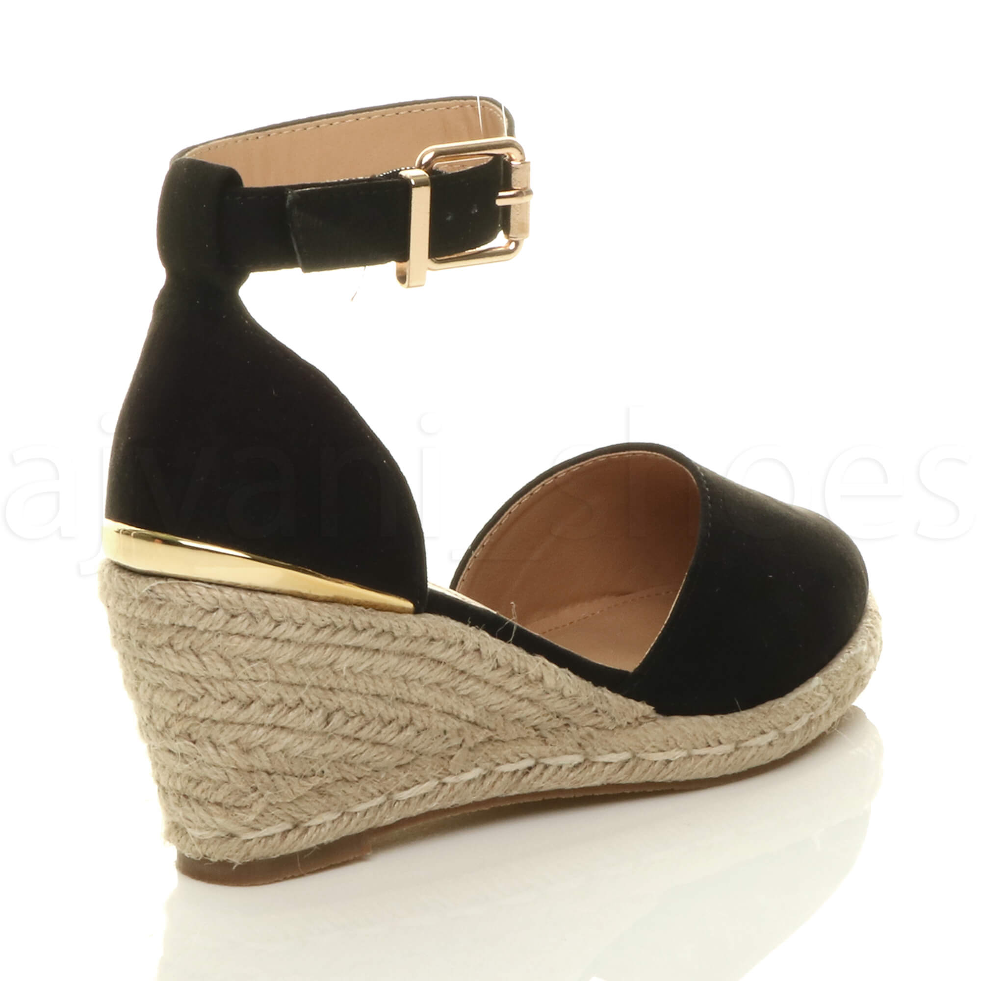 f5b2e0520db Details about WOMENS LADIES MID WEDGE HEEL BUCKLE UP ANKLE STRAP ESPADRILLE  SANDALS SIZE