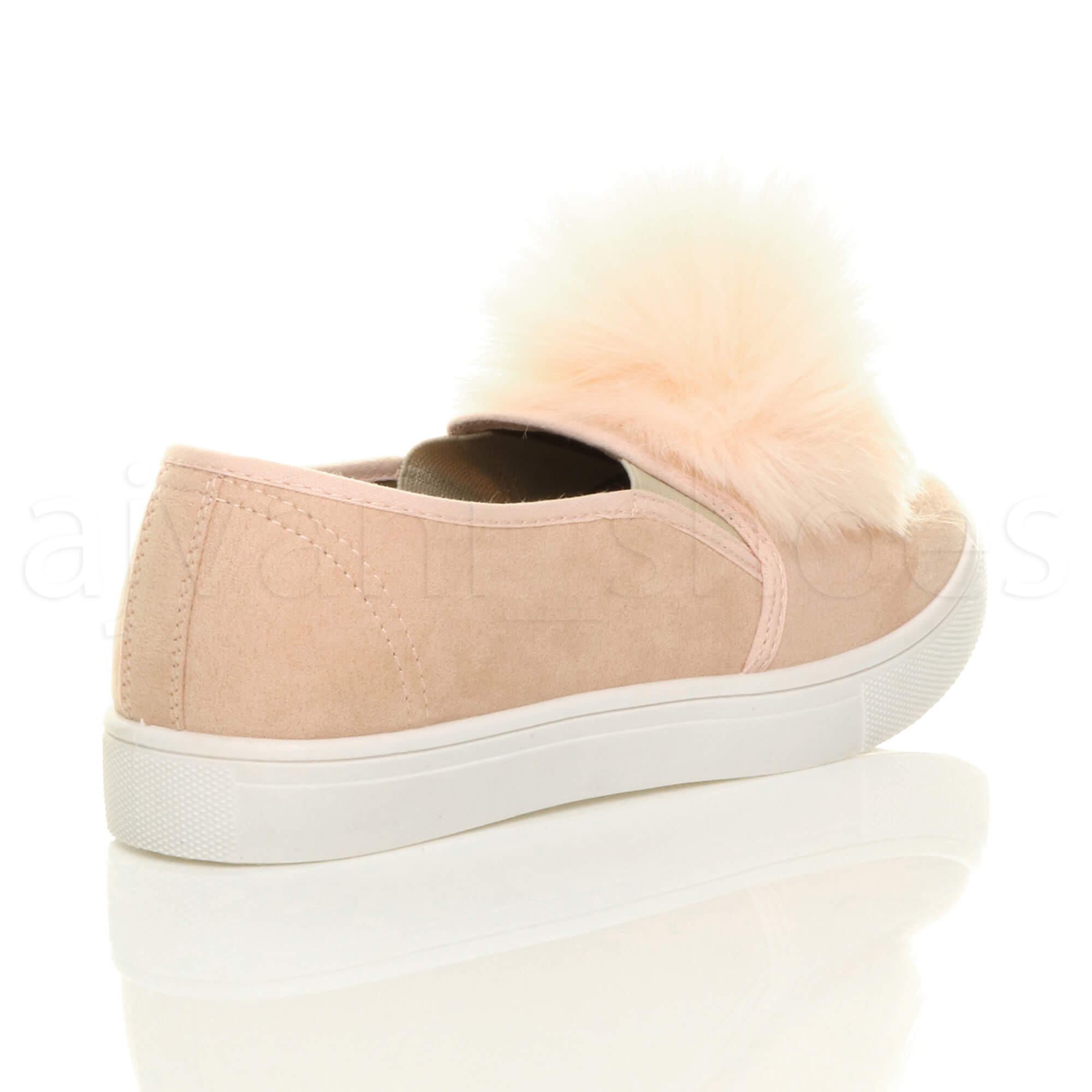 WOMENS-LADIES-FLAT-POM-POM-SLIP-ON-TRAINER-SNEAKER-PUMPS-LOAFERS-SHOES-SIZE