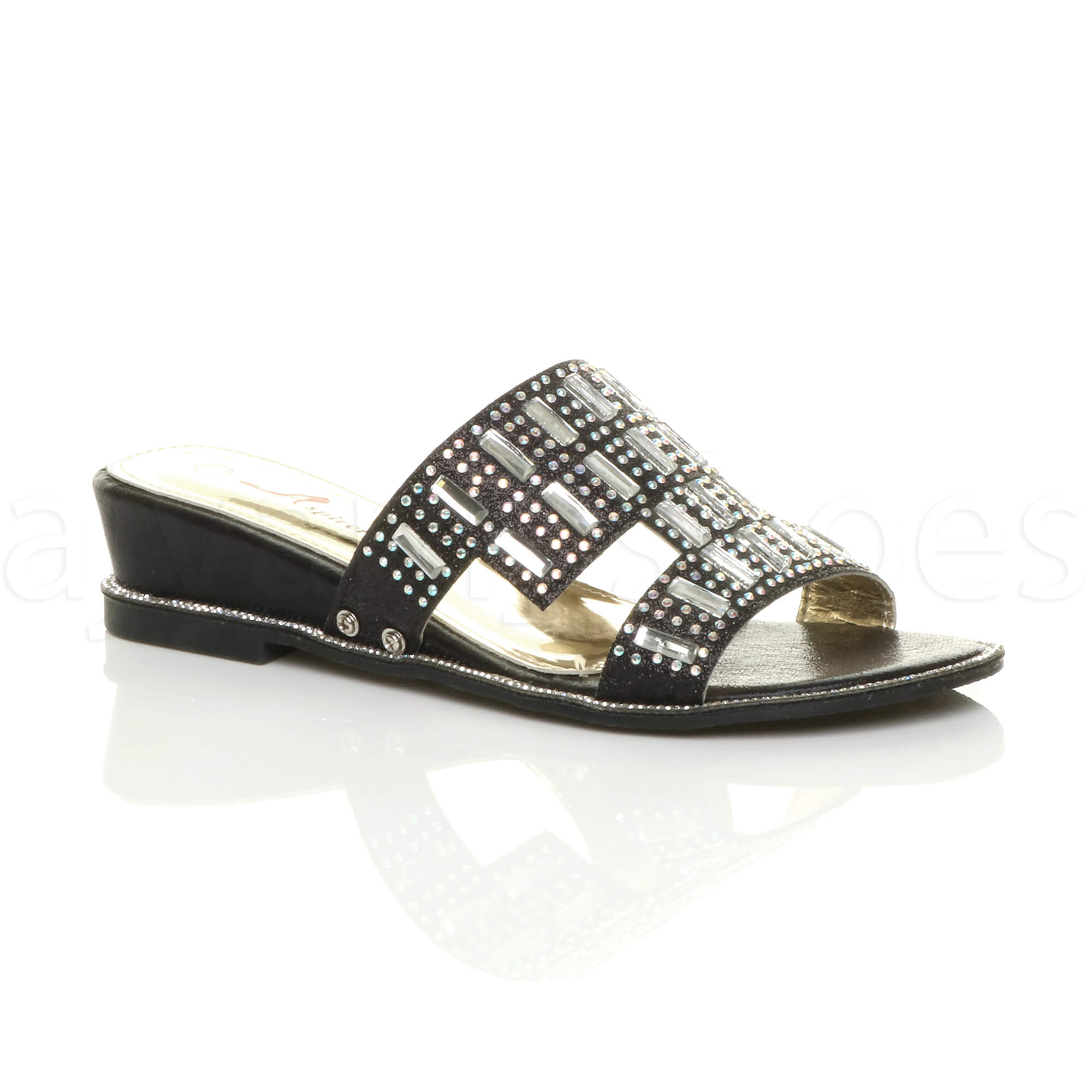 f65a2657db25 WOMENS LADIES LOW MID WEDGE HEEL DIAMANTE MULES SANDALS FLIP FLOPS ...