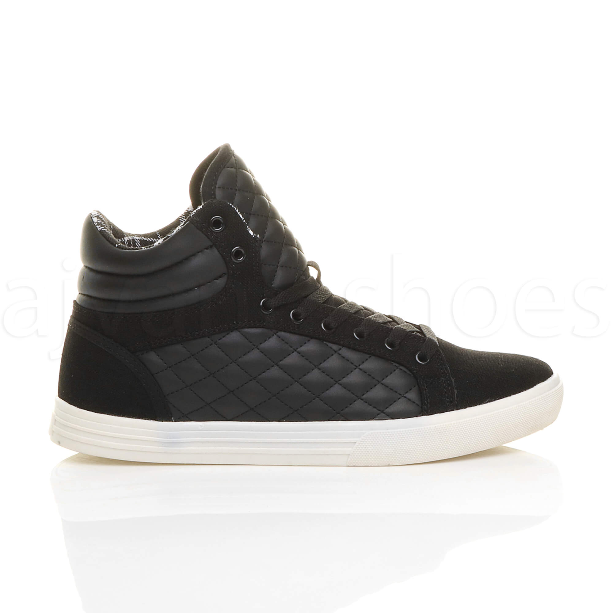 MENS-QUILTED-LACE-UP-FLAT-CASUAL-HI-HIGH-TOP-TRAINERS-SHOES-ANKLE-BOOTS-SIZE thumbnail 3