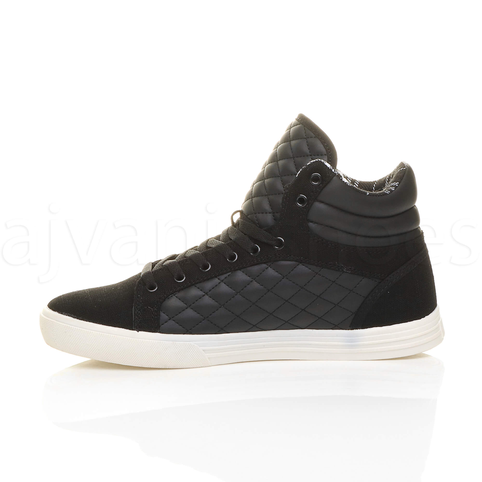 MENS-QUILTED-LACE-UP-FLAT-CASUAL-HI-HIGH-TOP-TRAINERS-SHOES-ANKLE-BOOTS-SIZE thumbnail 4