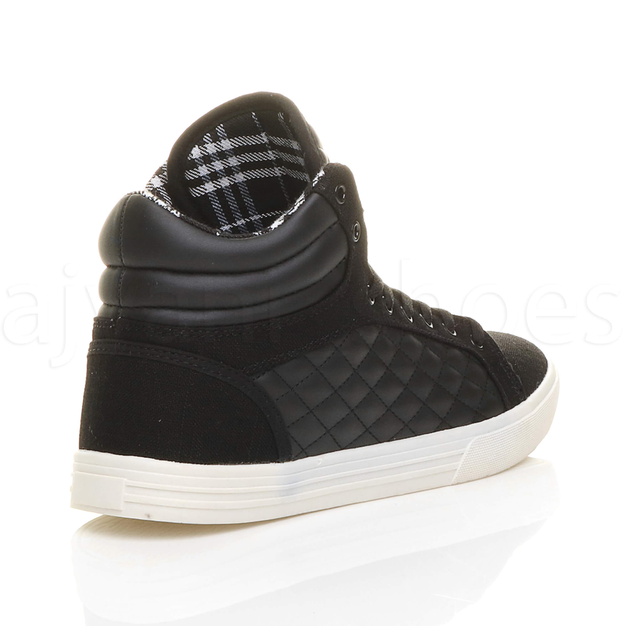 MENS-QUILTED-LACE-UP-FLAT-CASUAL-HI-HIGH-TOP-TRAINERS-SHOES-ANKLE-BOOTS-SIZE thumbnail 5