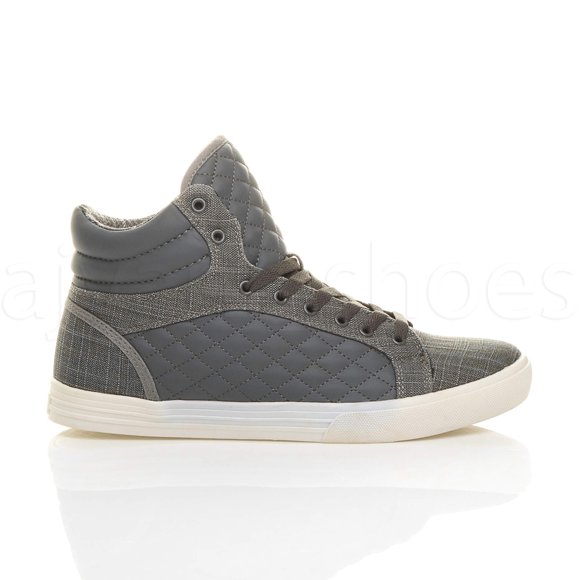 MENS-QUILTED-LACE-UP-FLAT-CASUAL-HI-HIGH-TOP-TRAINERS-SHOES-ANKLE-BOOTS-SIZE thumbnail 10