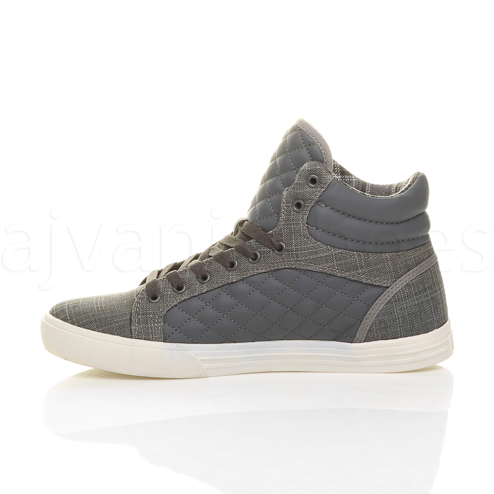 MENS-QUILTED-LACE-UP-FLAT-CASUAL-HI-HIGH-TOP-TRAINERS-SHOES-ANKLE-BOOTS-SIZE thumbnail 11