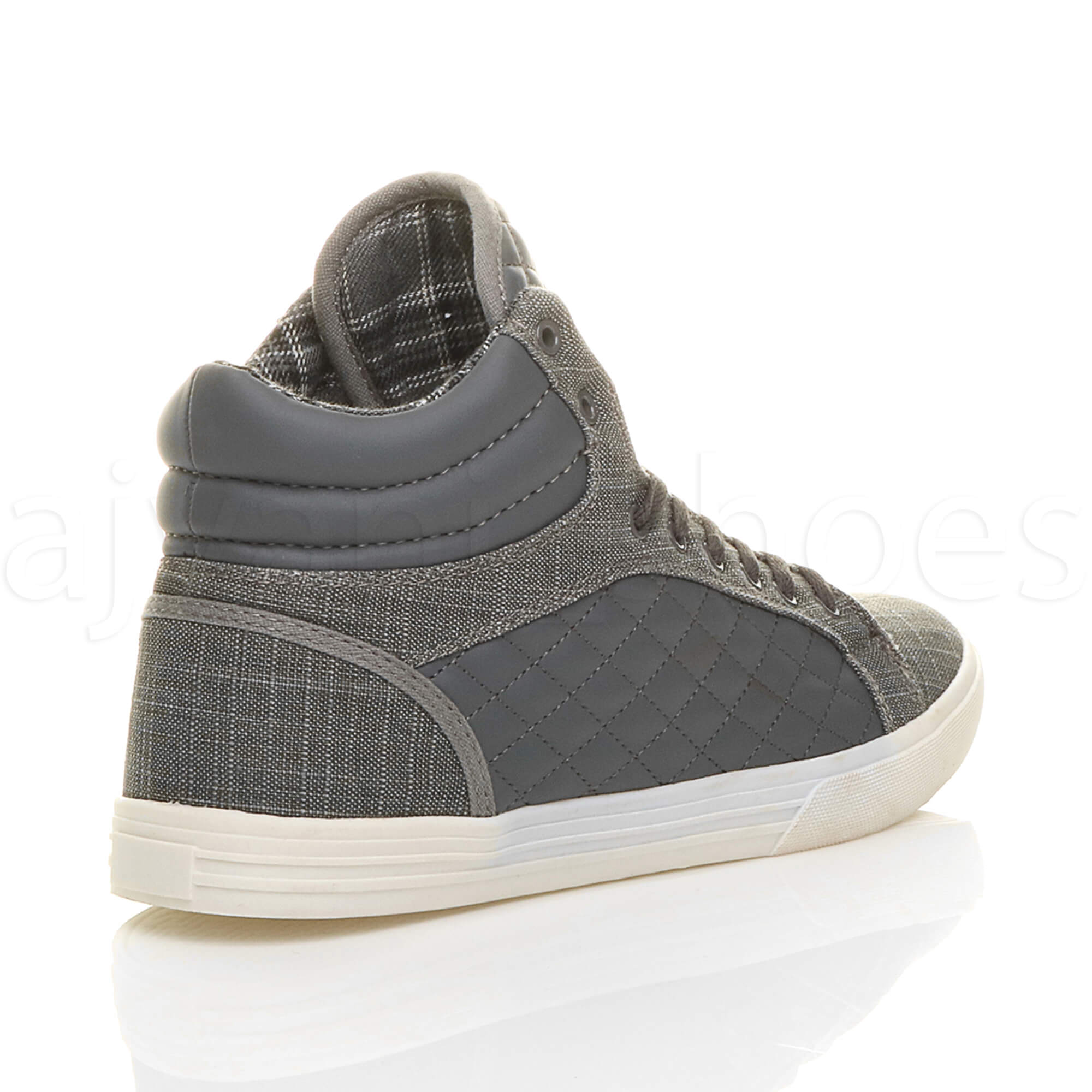 MENS-QUILTED-LACE-UP-FLAT-CASUAL-HI-HIGH-TOP-TRAINERS-SHOES-ANKLE-BOOTS-SIZE thumbnail 12