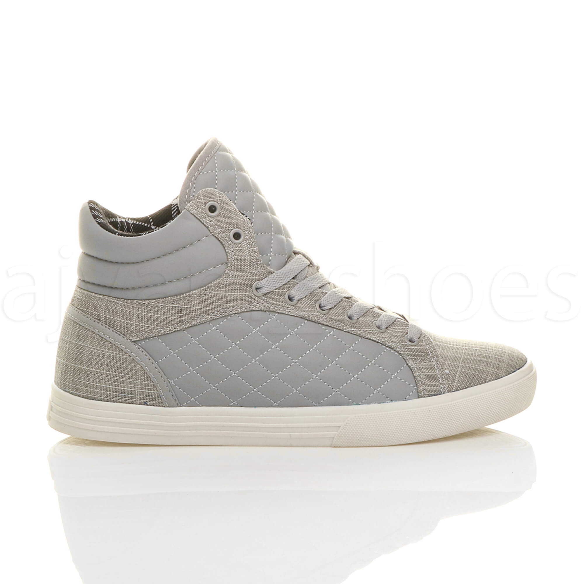 MENS-QUILTED-LACE-UP-FLAT-CASUAL-HI-HIGH-TOP-TRAINERS-SHOES-ANKLE-BOOTS-SIZE thumbnail 17