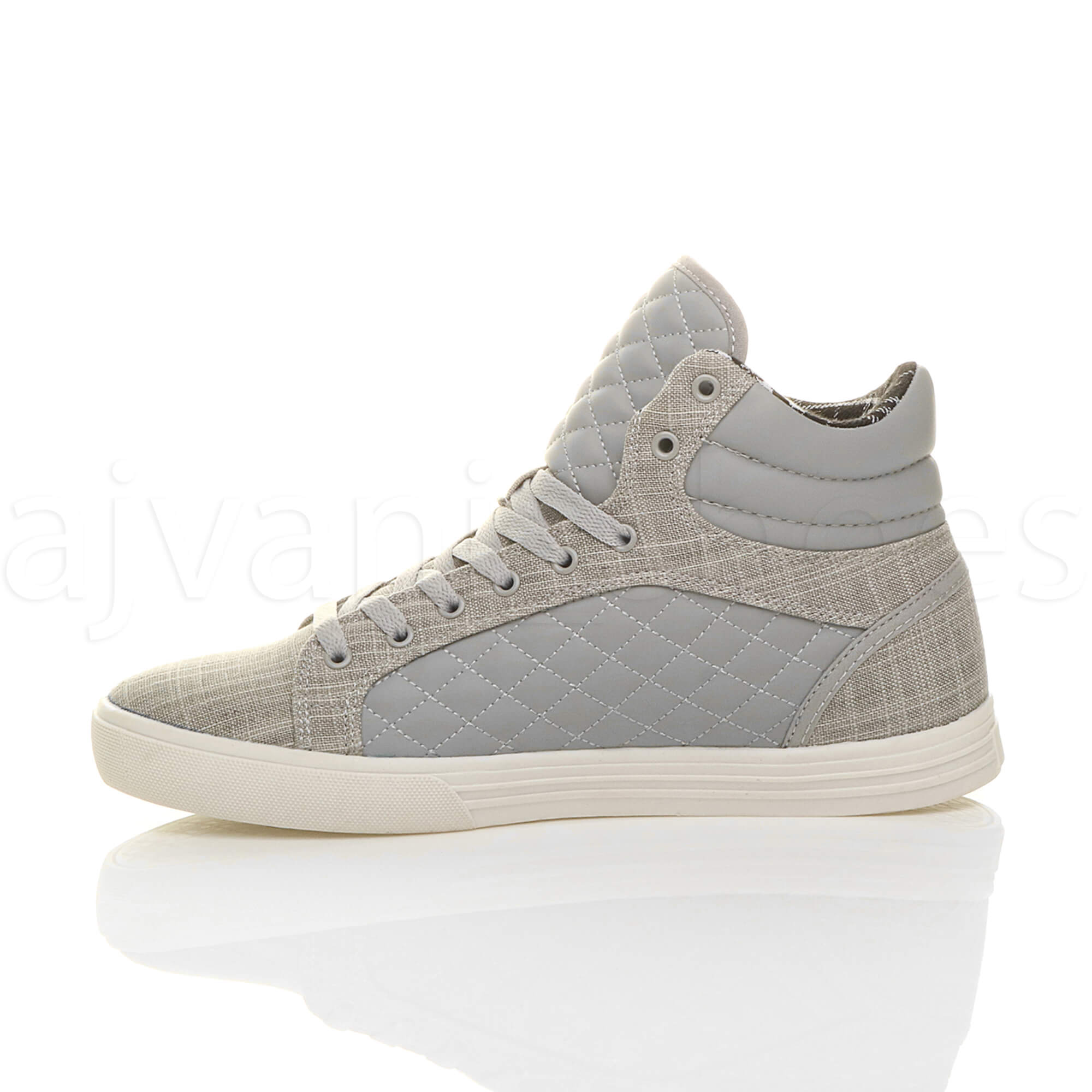 MENS-QUILTED-LACE-UP-FLAT-CASUAL-HI-HIGH-TOP-TRAINERS-SHOES-ANKLE-BOOTS-SIZE thumbnail 18