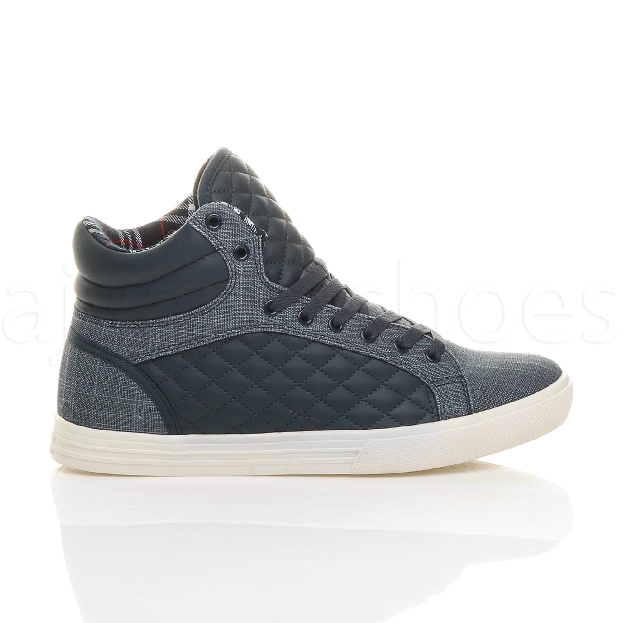 MENS-QUILTED-LACE-UP-FLAT-CASUAL-HI-HIGH-TOP-TRAINERS-SHOES-ANKLE-BOOTS-SIZE thumbnail 24