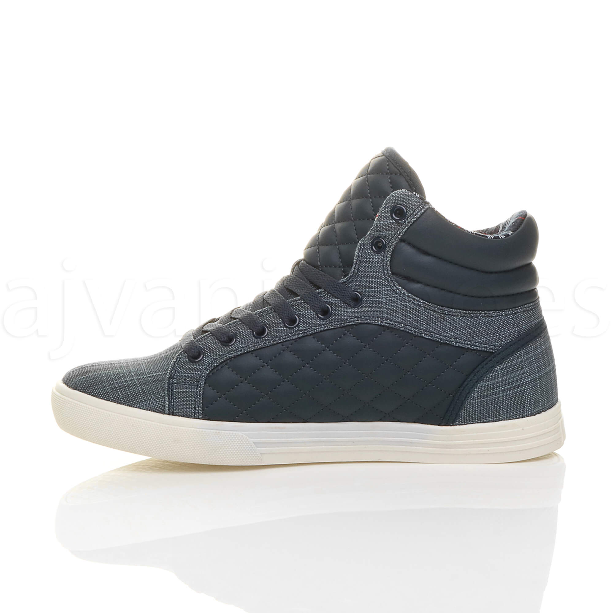 MENS-QUILTED-LACE-UP-FLAT-CASUAL-HI-HIGH-TOP-TRAINERS-SHOES-ANKLE-BOOTS-SIZE thumbnail 25