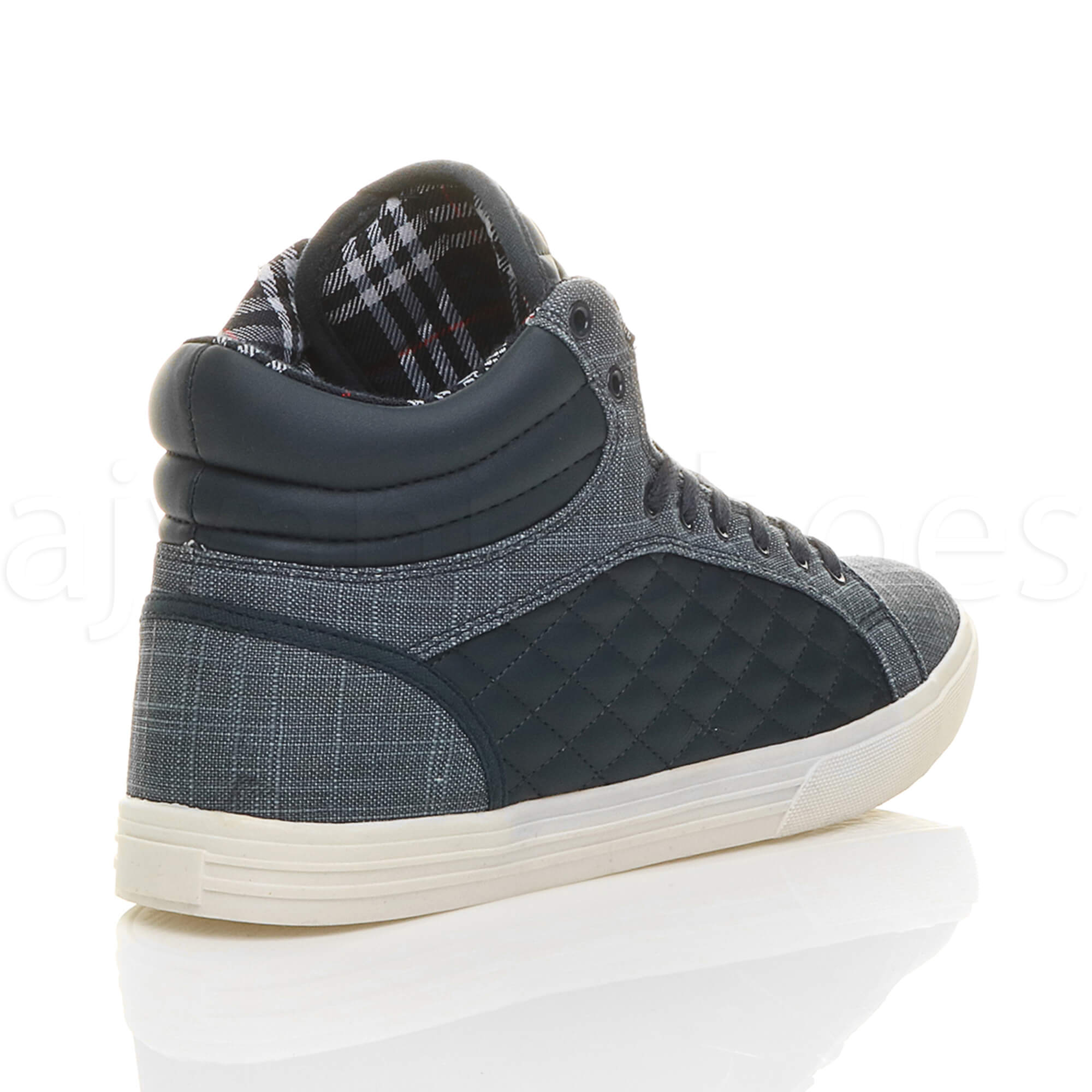 MENS-QUILTED-LACE-UP-FLAT-CASUAL-HI-HIGH-TOP-TRAINERS-SHOES-ANKLE-BOOTS-SIZE thumbnail 26