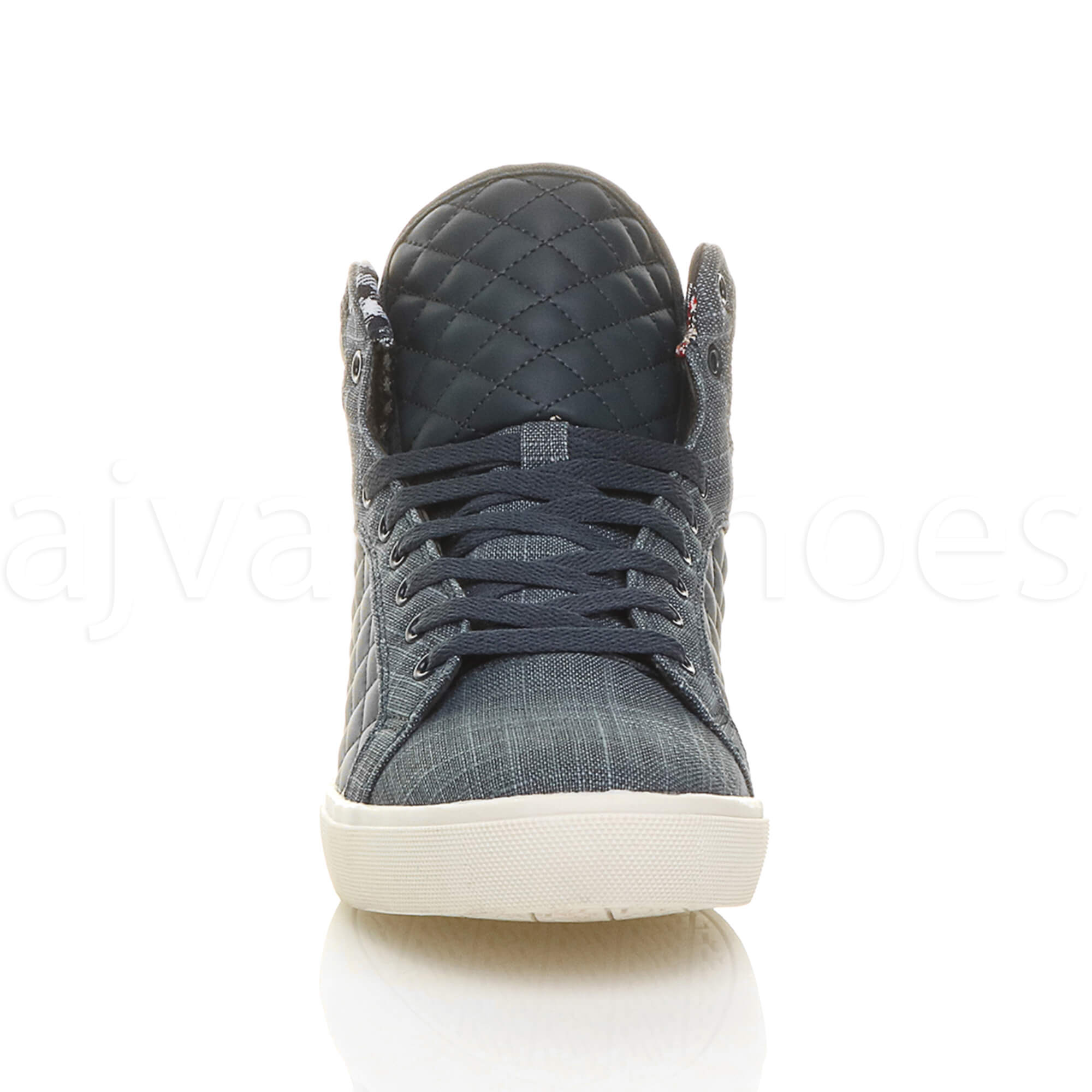 MENS-QUILTED-LACE-UP-FLAT-CASUAL-HI-HIGH-TOP-TRAINERS-SHOES-ANKLE-BOOTS-SIZE thumbnail 28