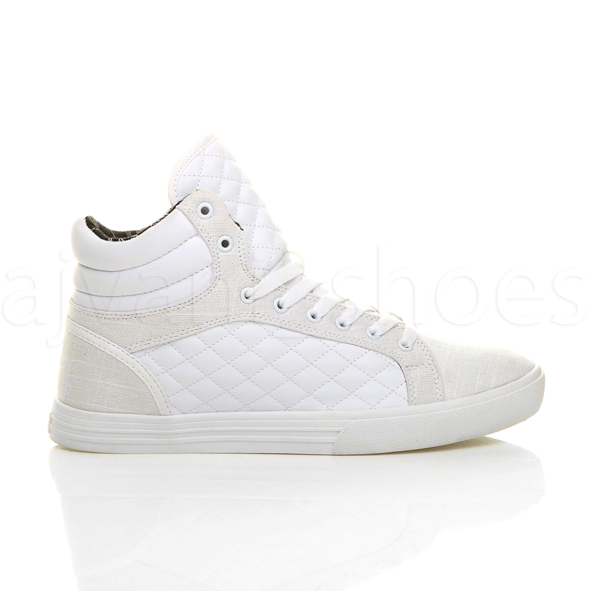 MENS-QUILTED-LACE-UP-FLAT-CASUAL-HI-HIGH-TOP-TRAINERS-SHOES-ANKLE-BOOTS-SIZE thumbnail 31