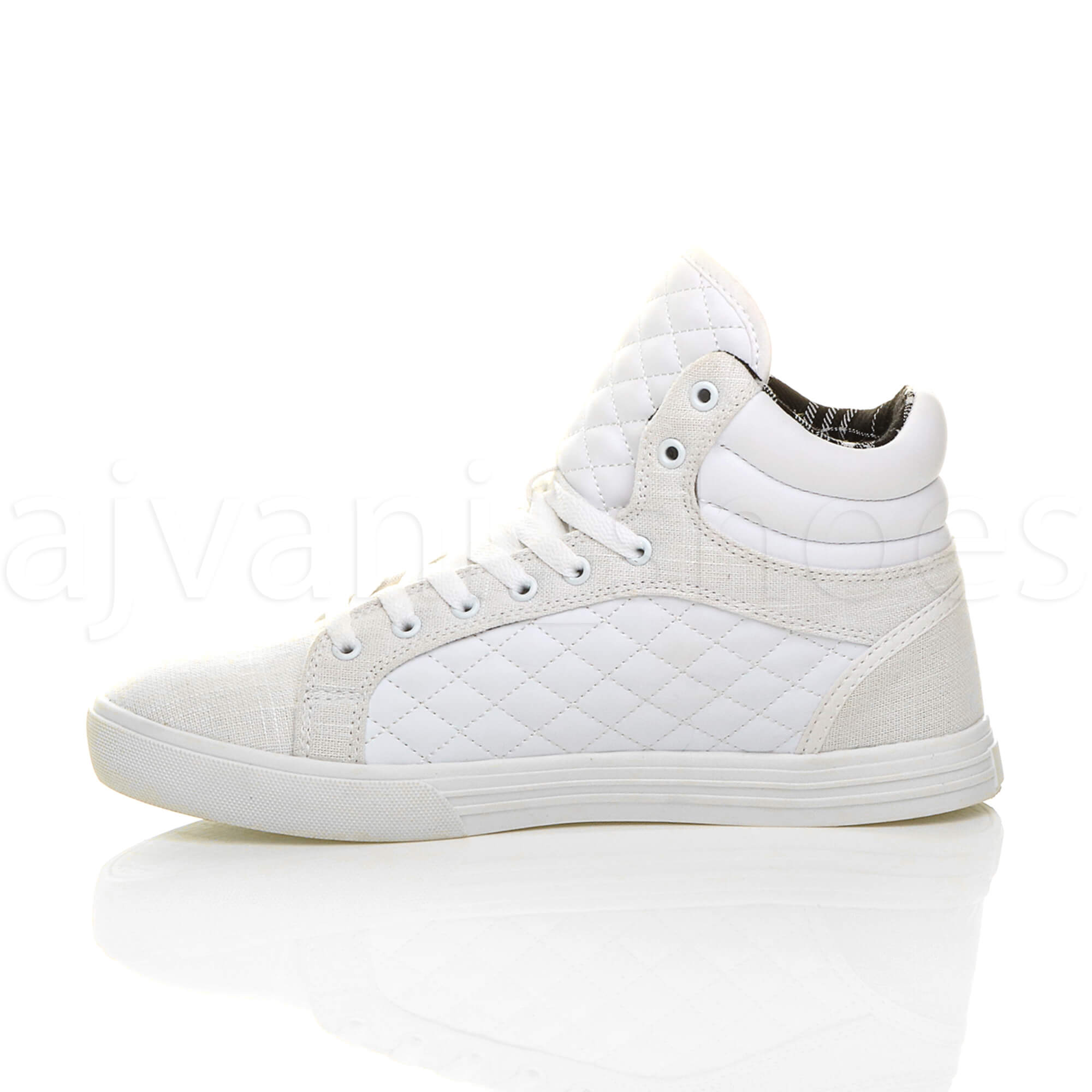 MENS-QUILTED-LACE-UP-FLAT-CASUAL-HI-HIGH-TOP-TRAINERS-SHOES-ANKLE-BOOTS-SIZE thumbnail 32