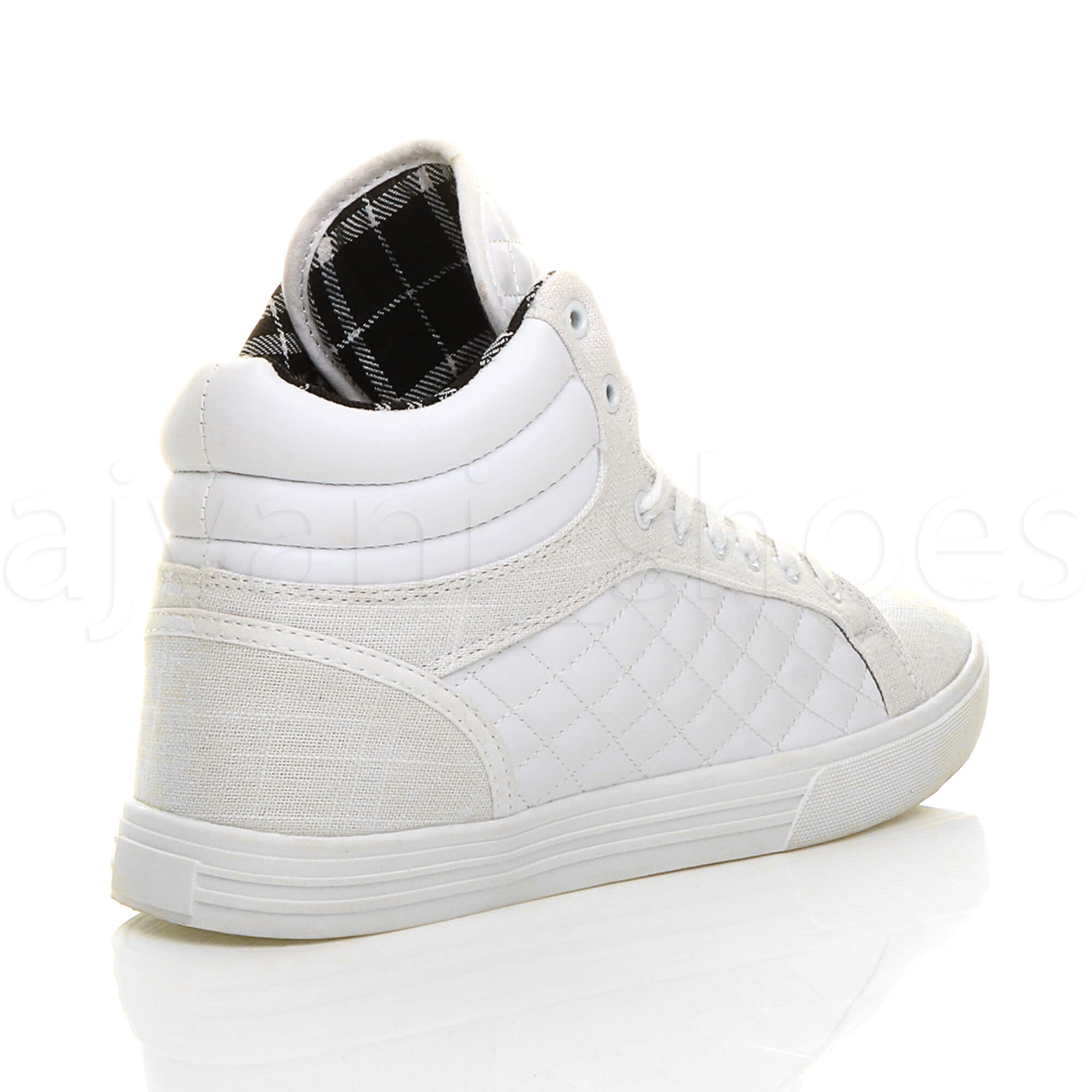 MENS-QUILTED-LACE-UP-FLAT-CASUAL-HI-HIGH-TOP-TRAINERS-SHOES-ANKLE-BOOTS-SIZE thumbnail 33