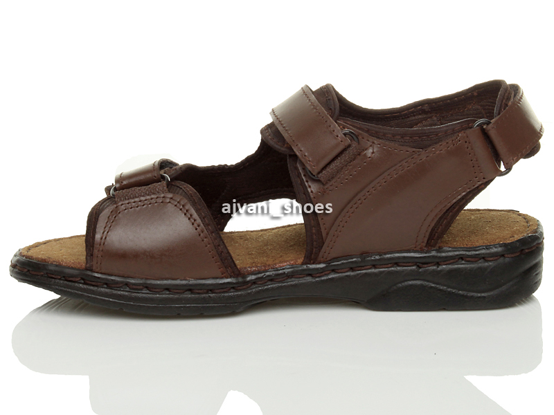 MENS-LOW-HEEL-FLAT-GENUINE-LEATHER-HOOK-amp-LOOP-STRAP-ADJUSTABLE-SANDALS-SIZE