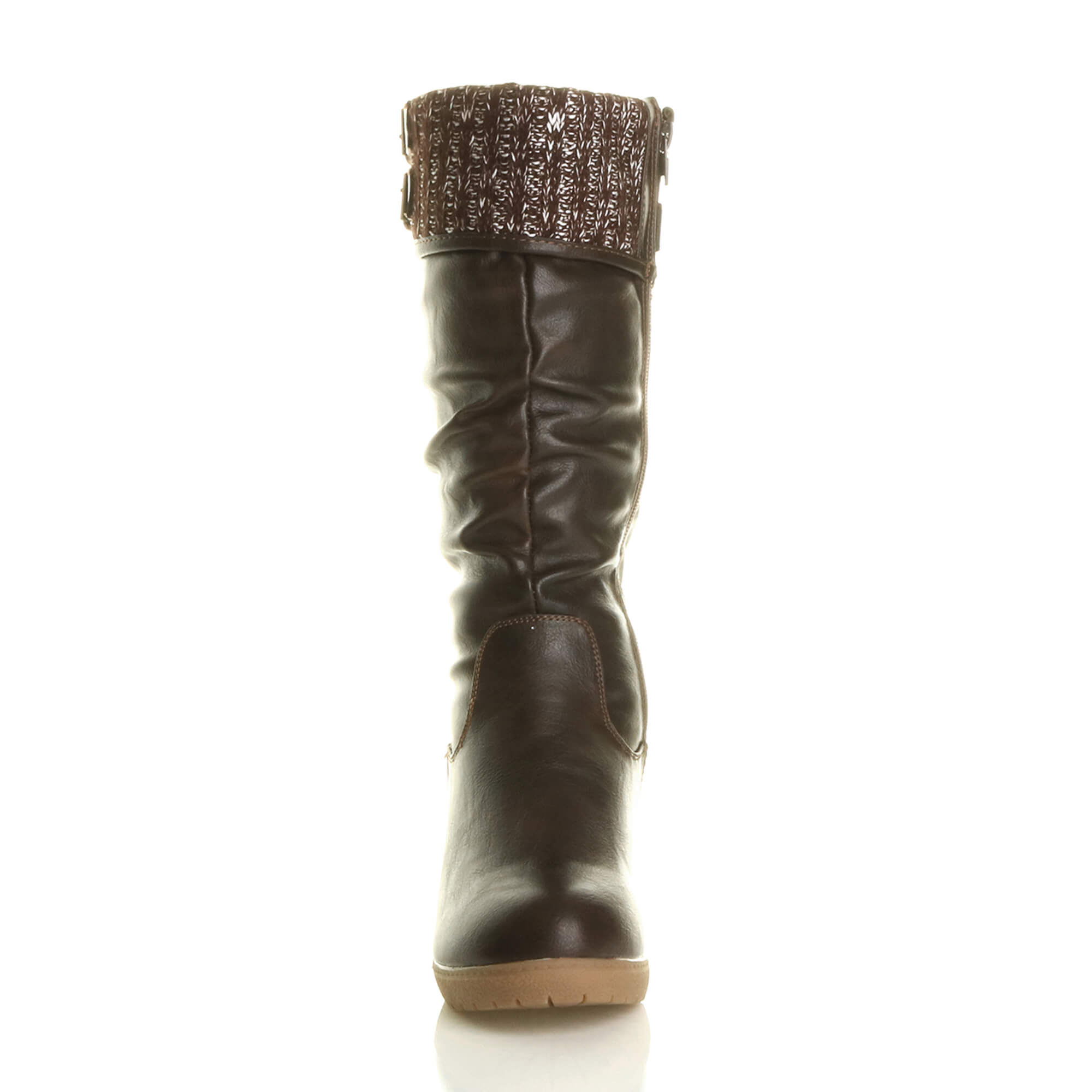 WOMENS-LADIES-MID-WEDGE-HEEL-CONTRAST-KNITTED-CUFF-BUCKLE-ZIP-CALF-BOOTS-SIZE