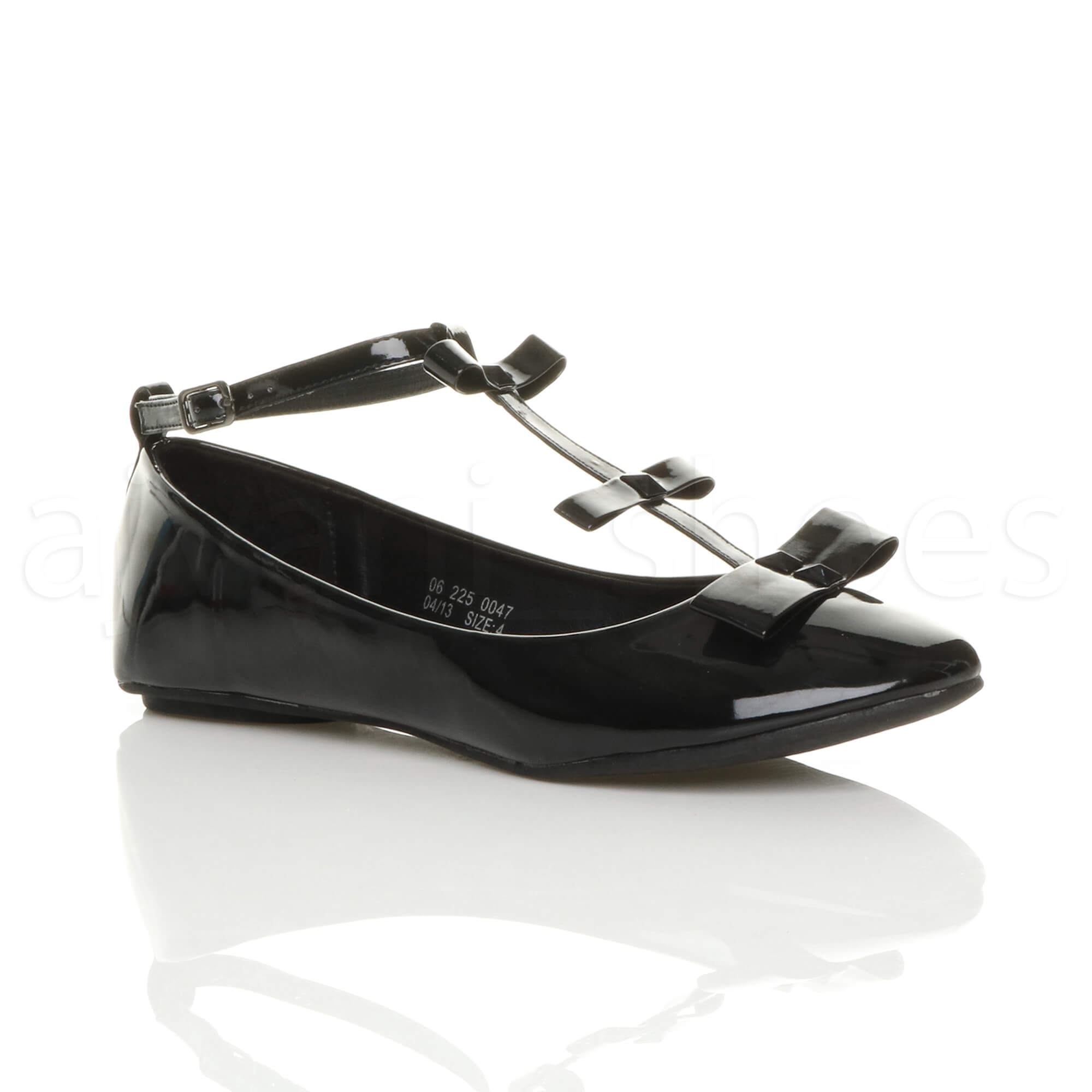 WOMENS LADIES FLAT ANKLE STRAP T-BAR BOW SMART WORK BALLERINA DOLLY SHOES  SIZE 4f35606e62