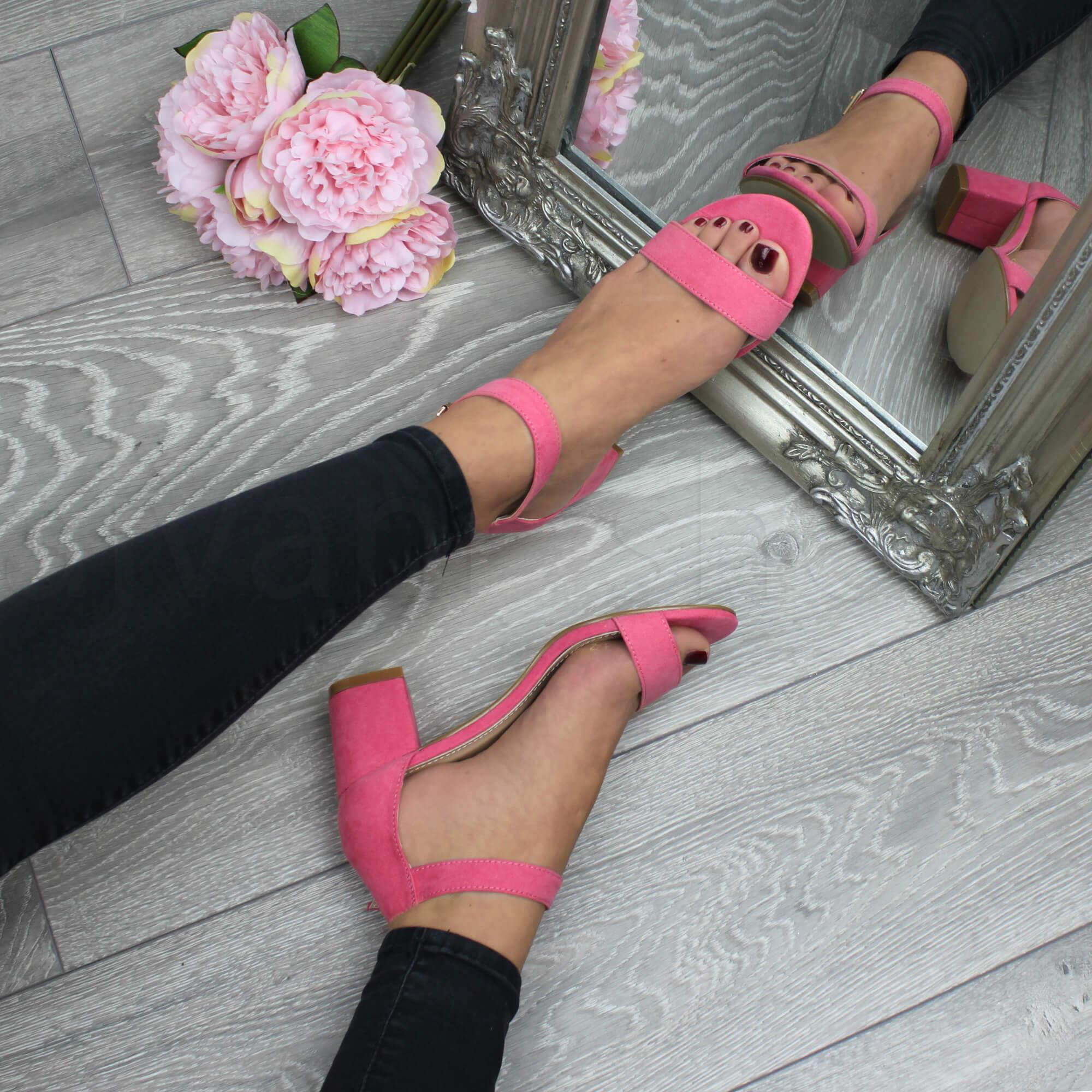 Donna-tacco-medio-fibbia-punta-aperta-caviglia-cinghietti-sandali-taglia miniatura 46