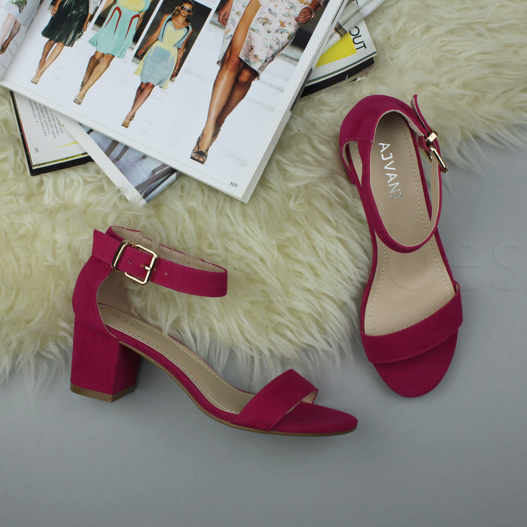 Magenta Mid Block Heel Shoes