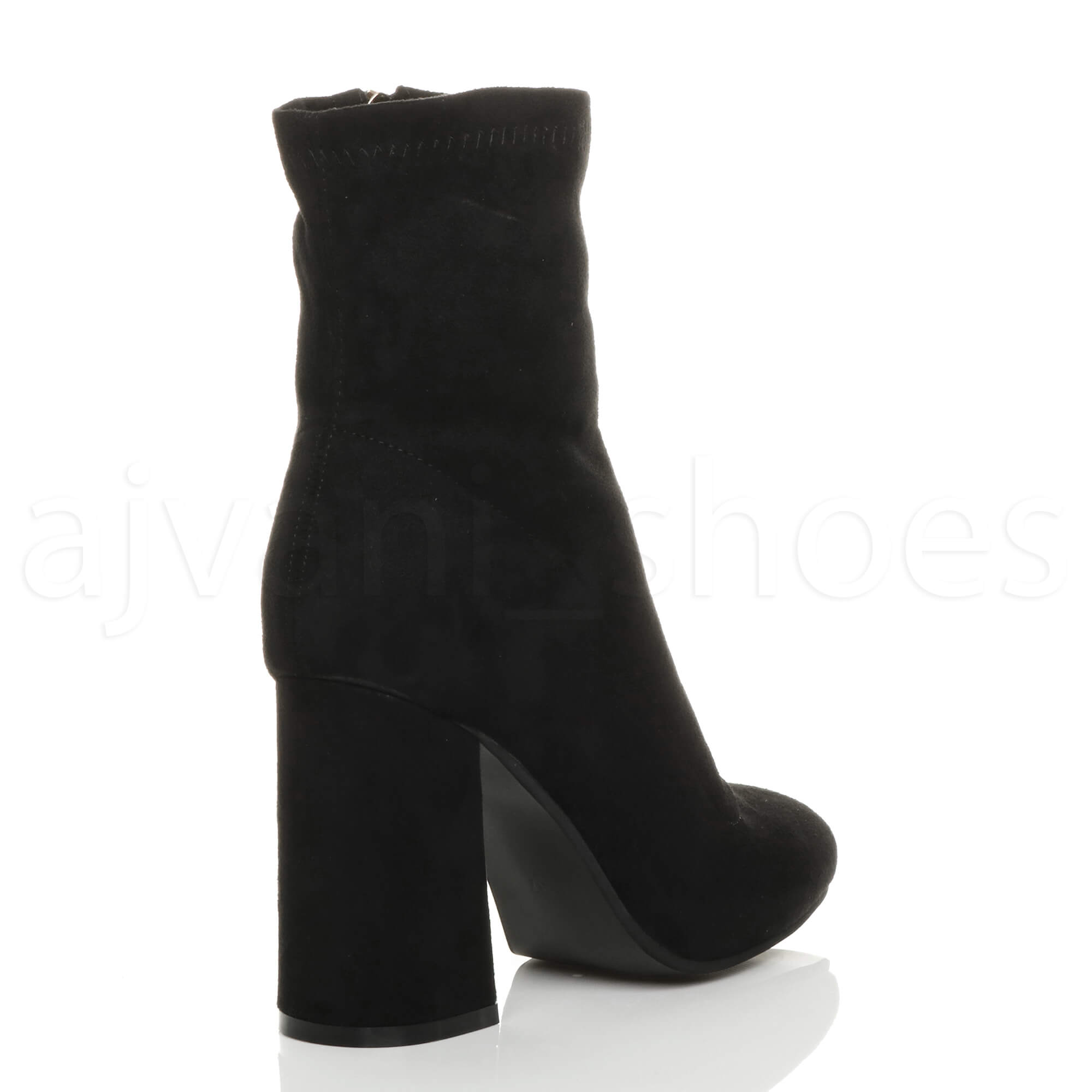 WOMENS-LADIES-HIGH-BLOCK-FLARED-HEEL-ZIP-PLAIN-FITTED-SOCK-ANKLE-BOOTS-SIZE