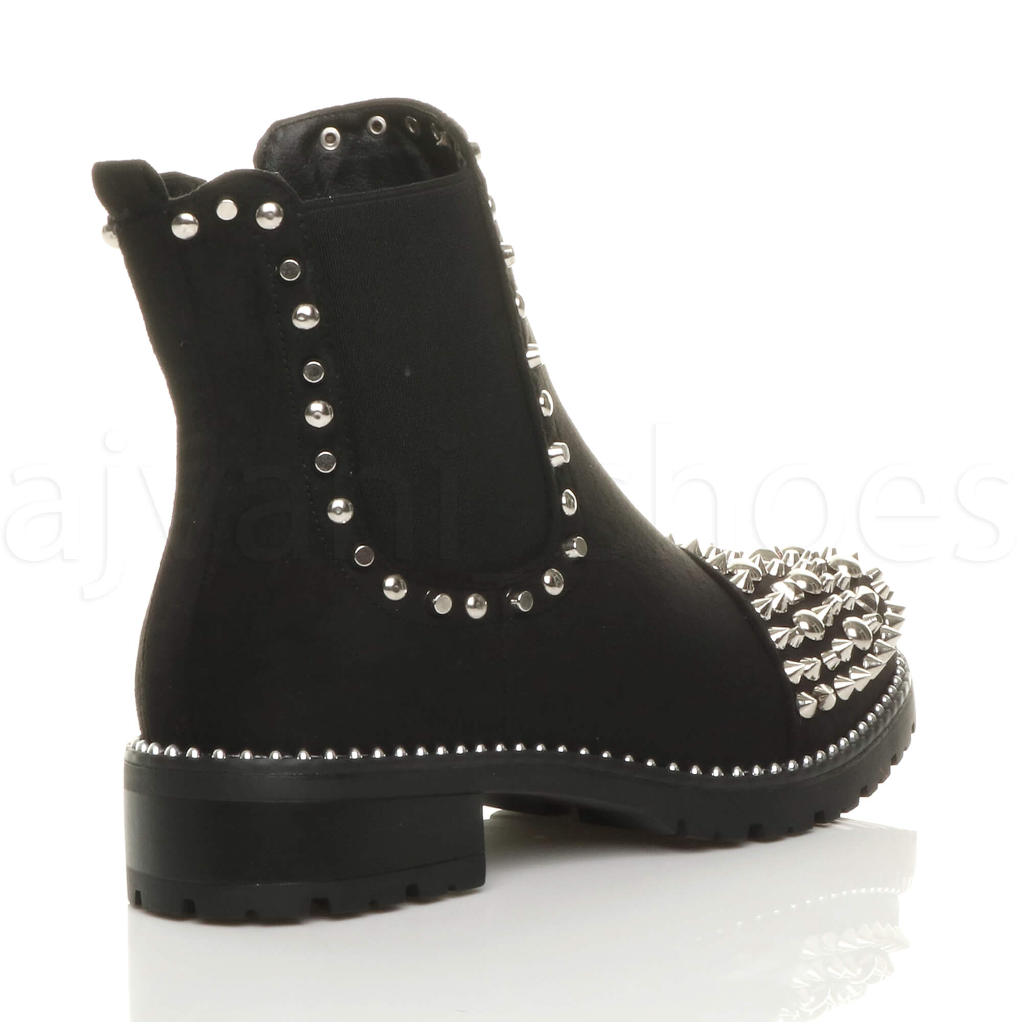 WOMENS-LADIES-LOW-HEEL-GOTH-PUNK-ROCK-STUDDED-GUSSET-CHELSEA-ANKLE-BOOTS-SIZE