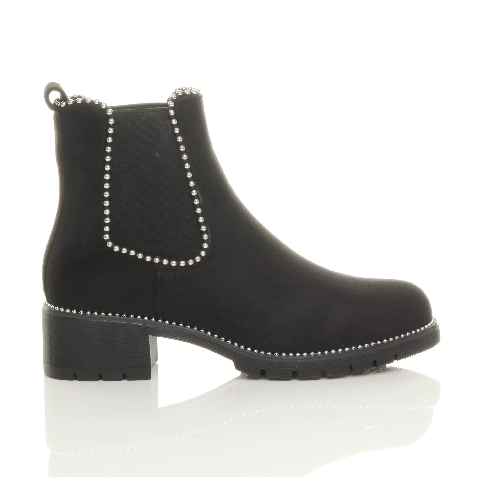 WOMENS-LADIES-LOW-BLOCK-HEEL-STUDDED-ELASTIC-CHELSEA-RIDING-ANKLE-BOOTS-SIZE