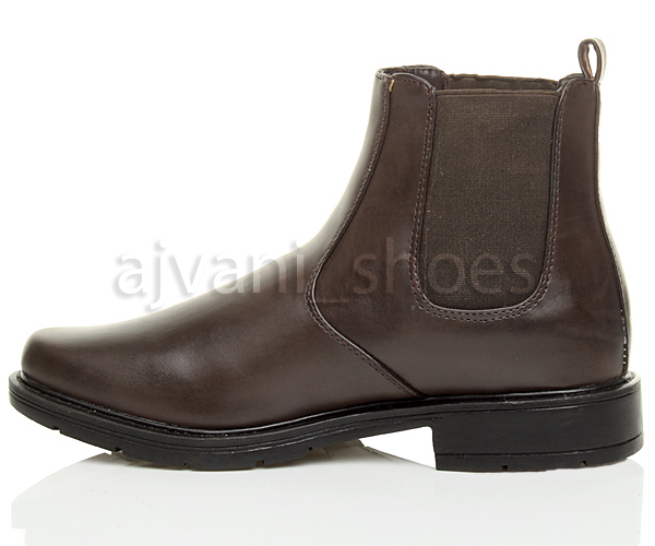 Mens Low Heel Square Toe Chelsea Pull On Smart Casual