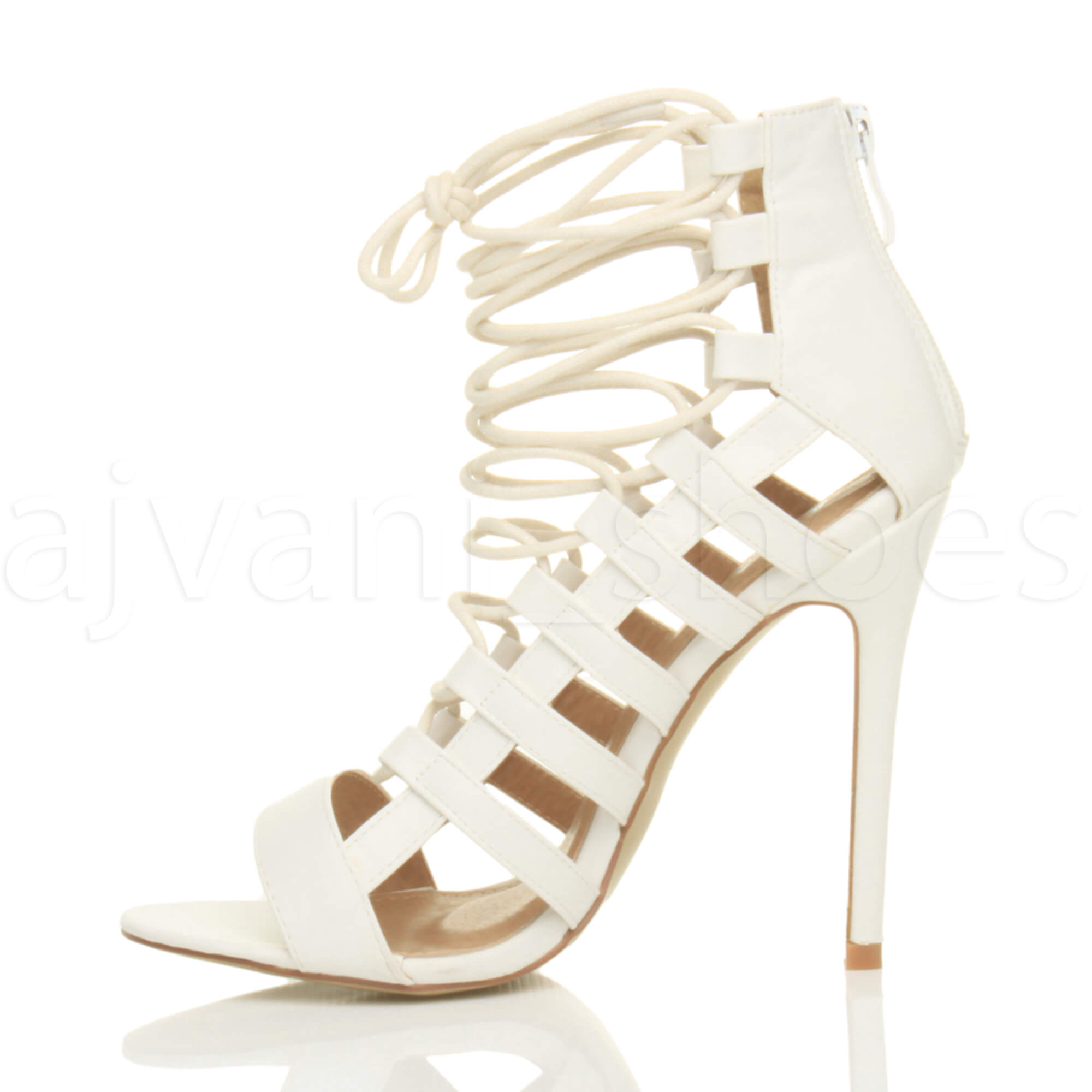 WOMENS-LADIES-HIGH-HEEL-STRAPPY-LACE-UP-ZIP-CUT-OUT-GHILLIE-SANDALS-SHOES-SIZE