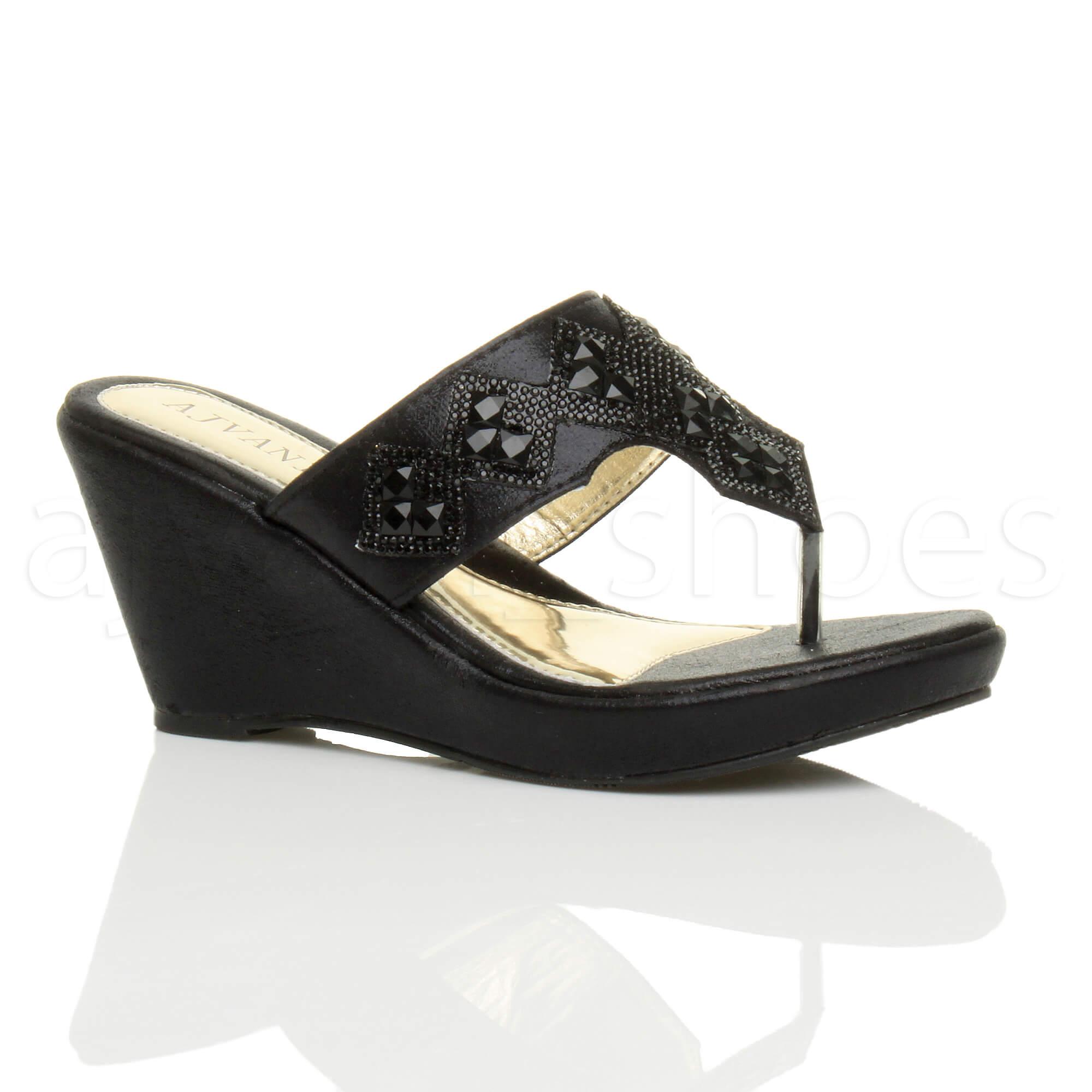 Womens Ladies High Wedge Heel Platform Toe Post Diamante Sandals Shoes