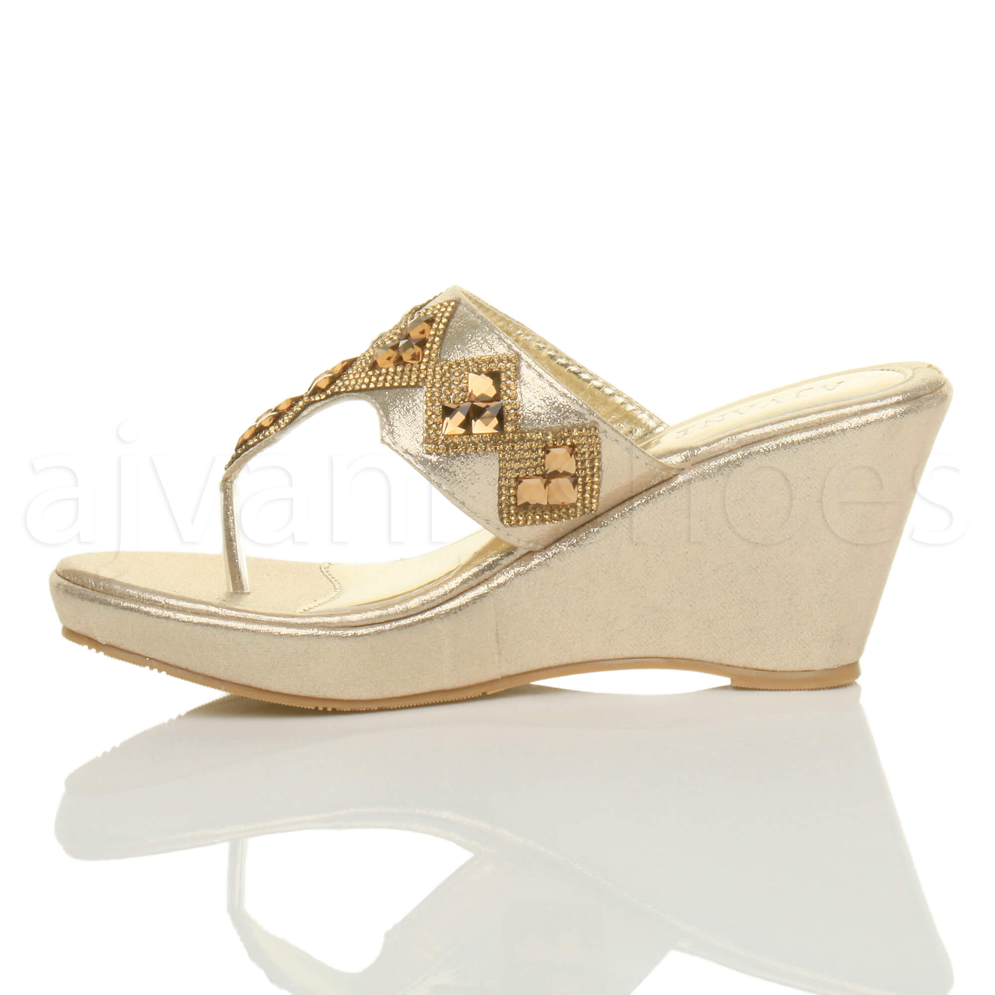 WOMENS-LADIES-HIGH-WEDGE-T-BAR-TOE-POST-DIAMANTE-PLATFORM-MULES-SANDALS-SIZE thumbnail 4