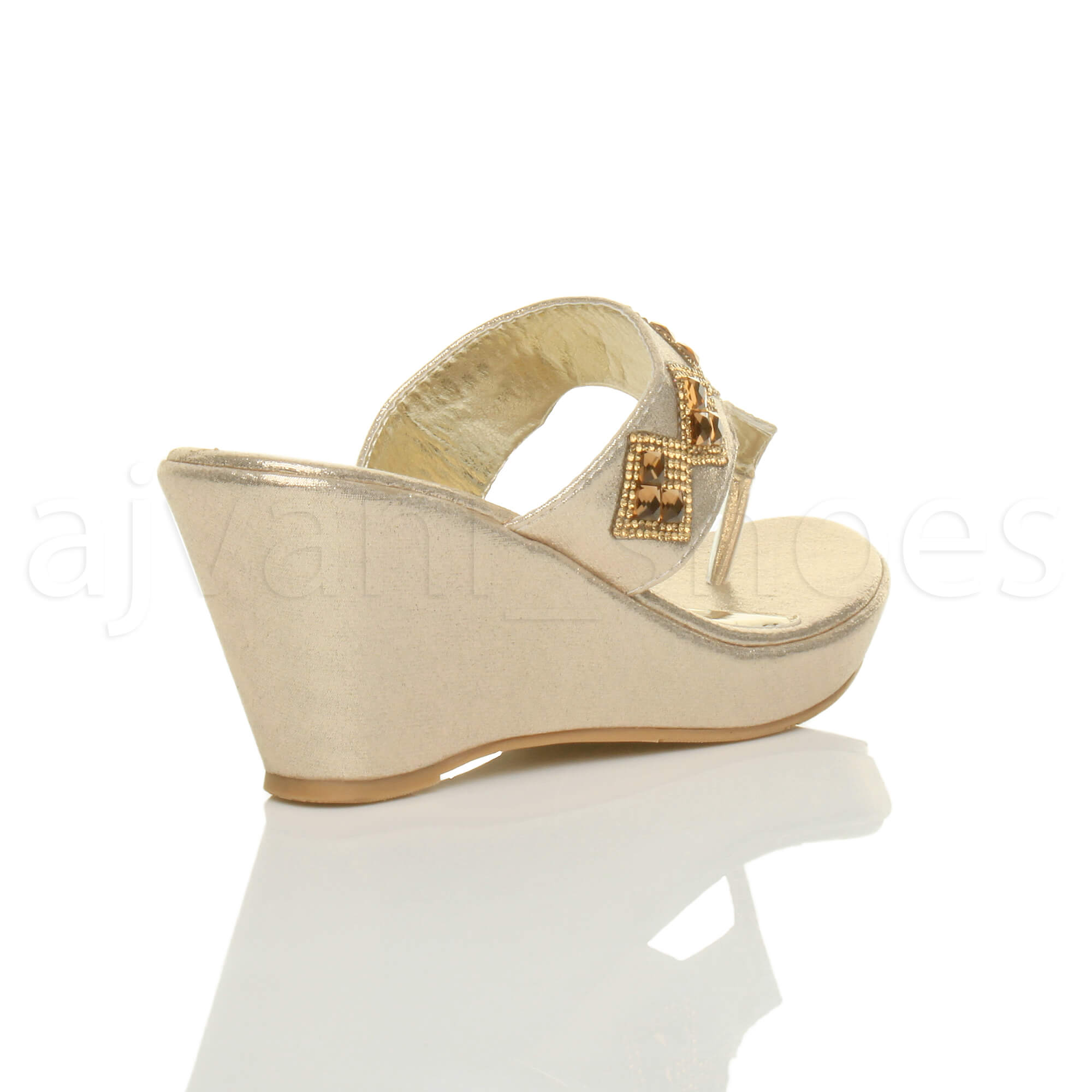 WOMENS-LADIES-HIGH-WEDGE-T-BAR-TOE-POST-DIAMANTE-PLATFORM-MULES-SANDALS-SIZE thumbnail 5
