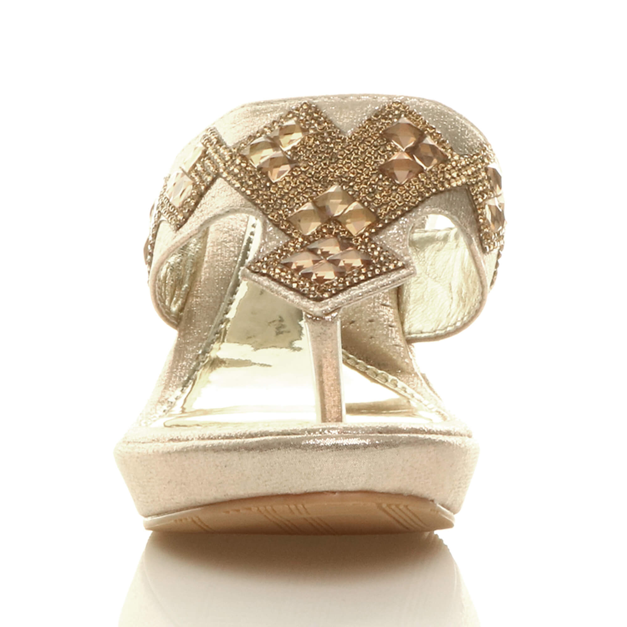 WOMENS-LADIES-HIGH-WEDGE-T-BAR-TOE-POST-DIAMANTE-PLATFORM-MULES-SANDALS-SIZE thumbnail 7