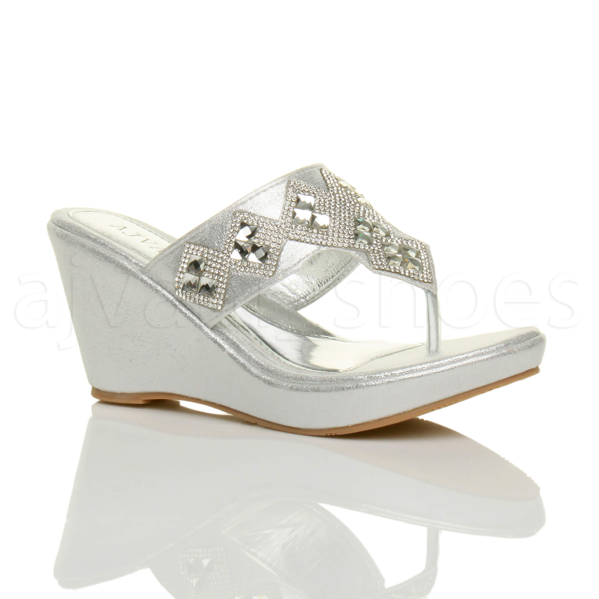 Womens Ladies High Wedge T Bar Toe Post Diamante Platform