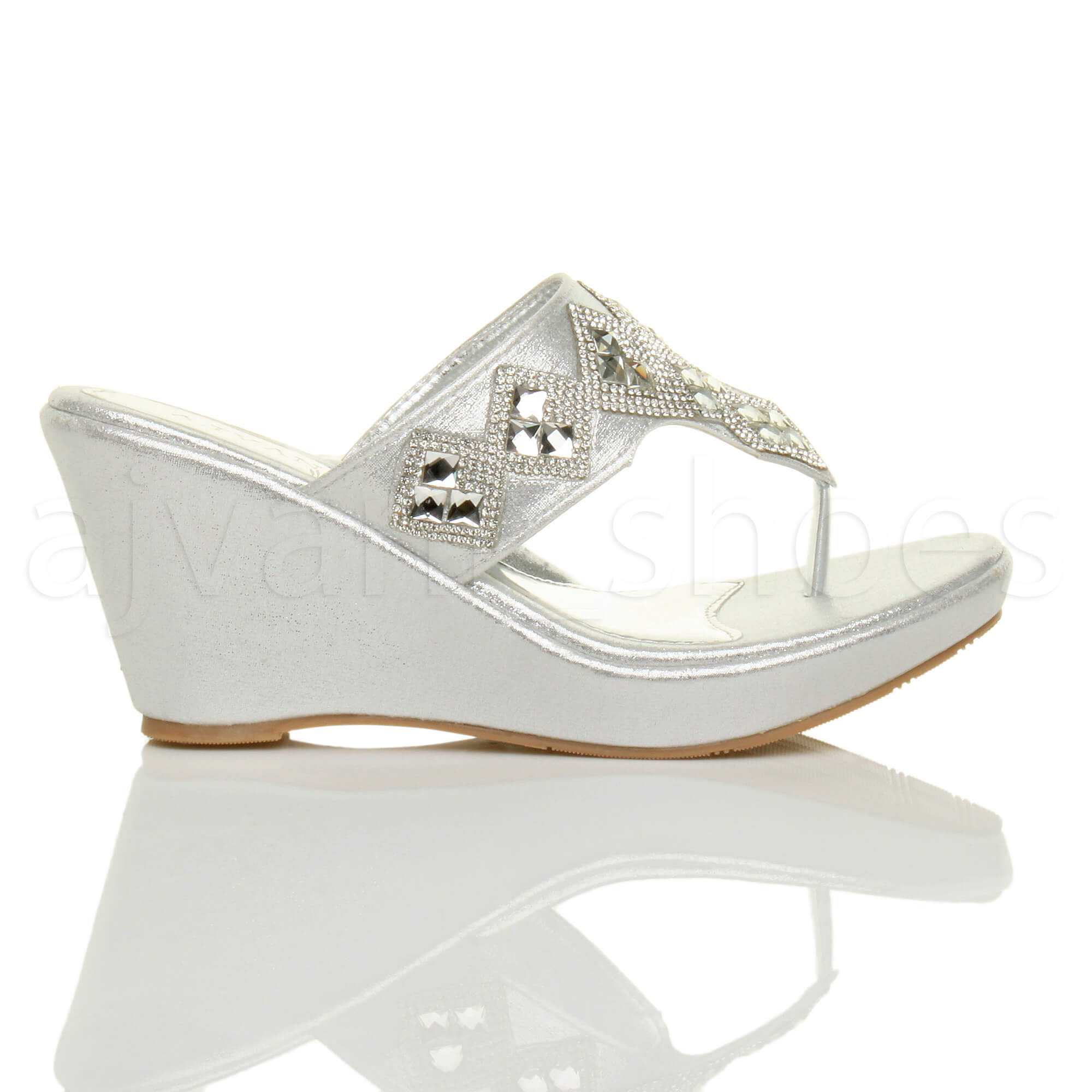 WOMENS-LADIES-HIGH-WEDGE-T-BAR-TOE-POST-DIAMANTE-PLATFORM-MULES-SANDALS-SIZE thumbnail 11