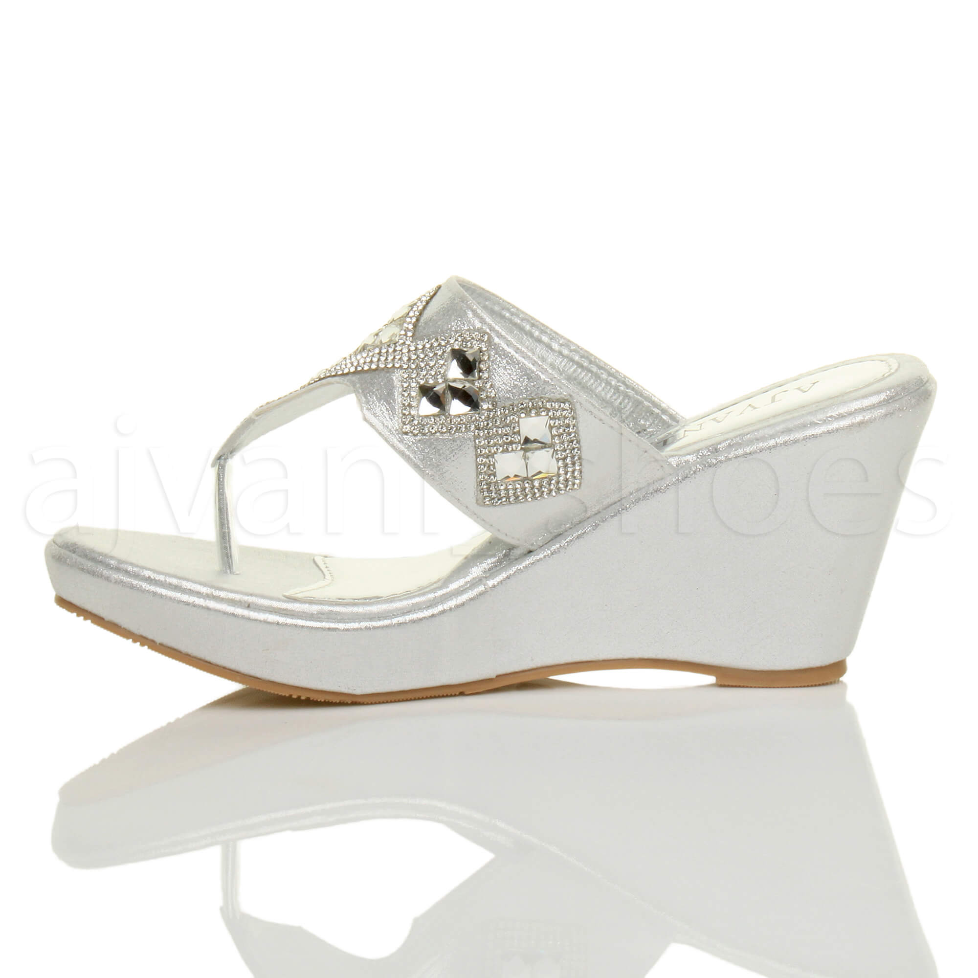 WOMENS-LADIES-HIGH-WEDGE-T-BAR-TOE-POST-DIAMANTE-PLATFORM-MULES-SANDALS-SIZE thumbnail 12