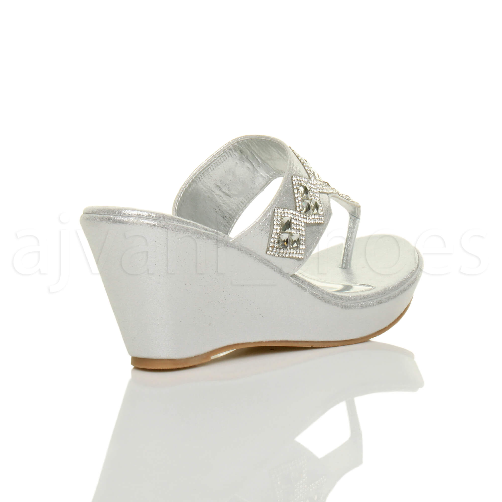 WOMENS-LADIES-HIGH-WEDGE-T-BAR-TOE-POST-DIAMANTE-PLATFORM-MULES-SANDALS-SIZE thumbnail 13