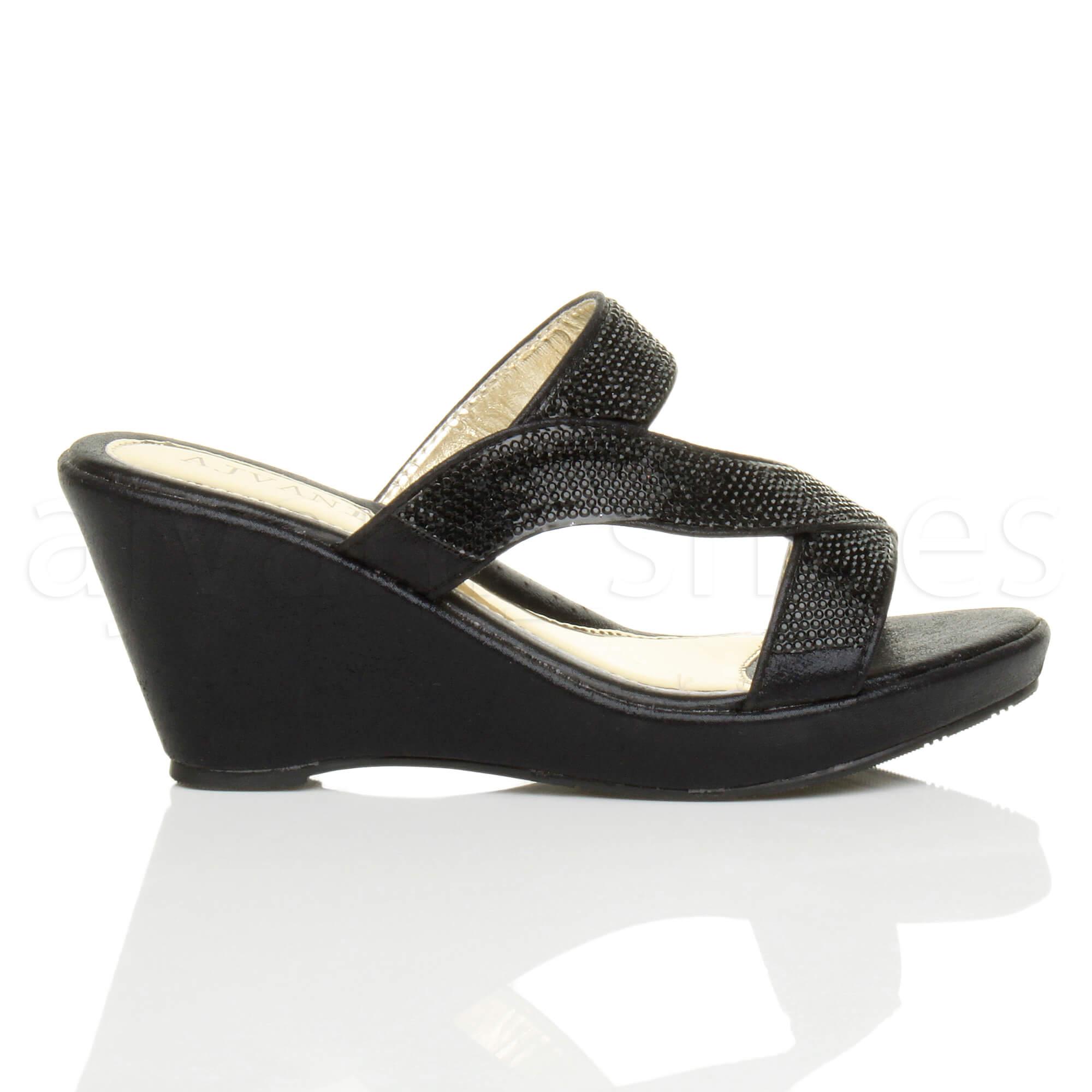 Womens Ladies High Heel Wedge Strappy Diamante Platform